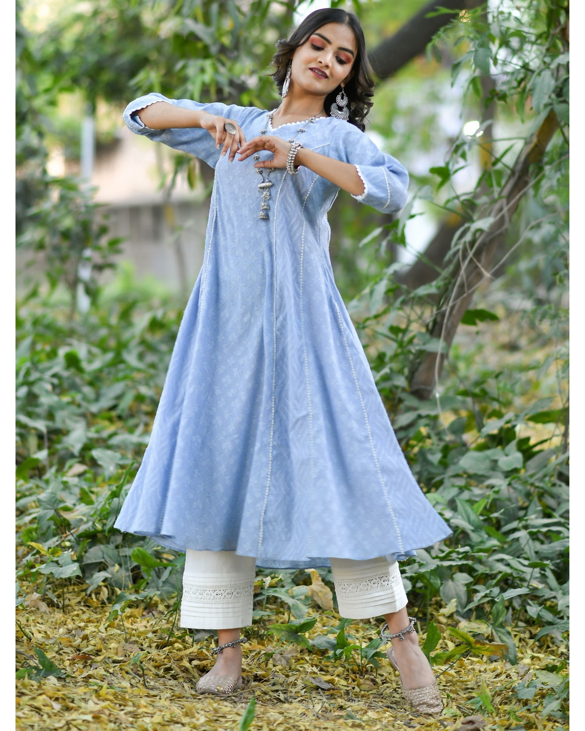 Blue jacquard cotton anarkali kurta