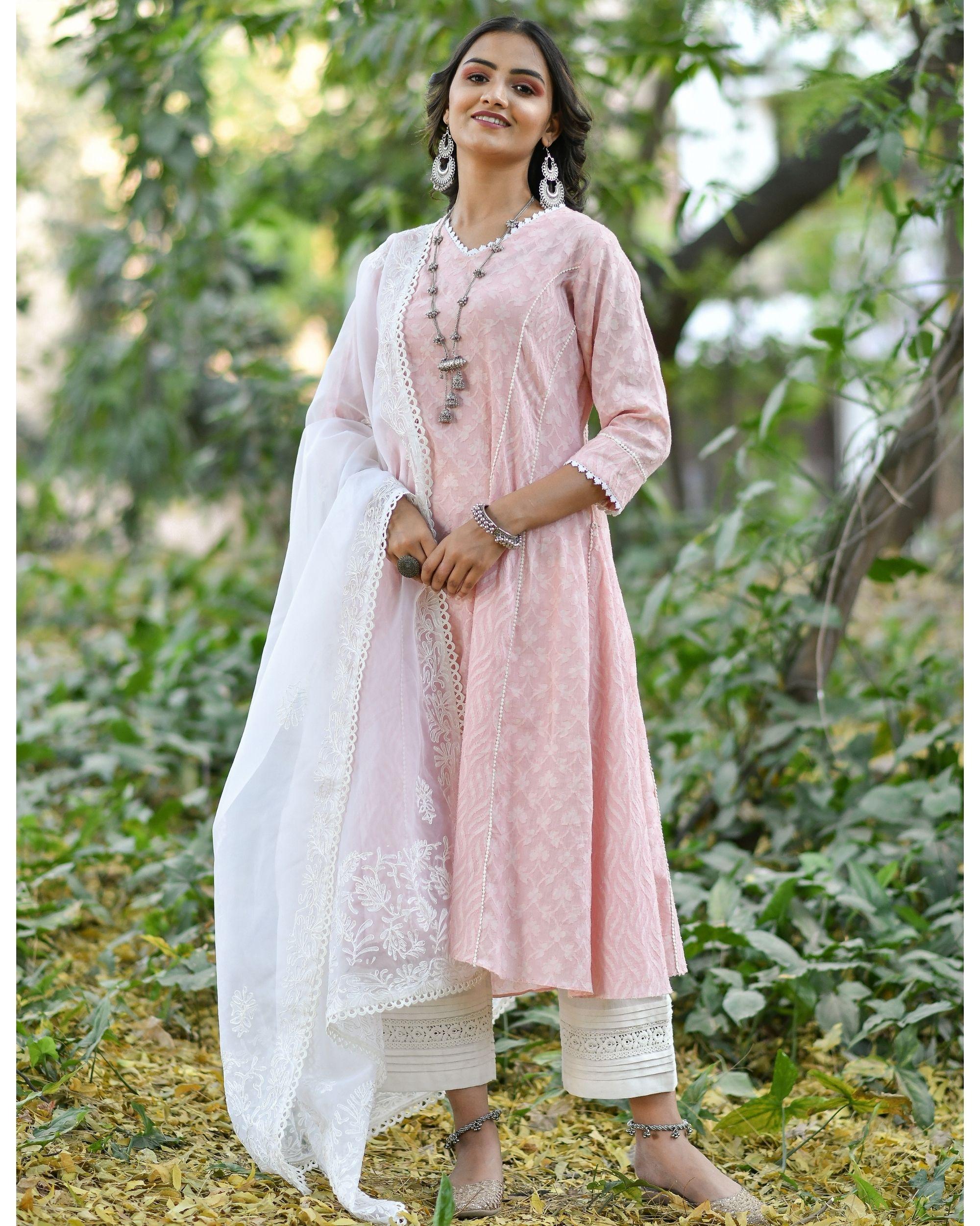 Pink jacquard cotton anarkali kurta set - set of three