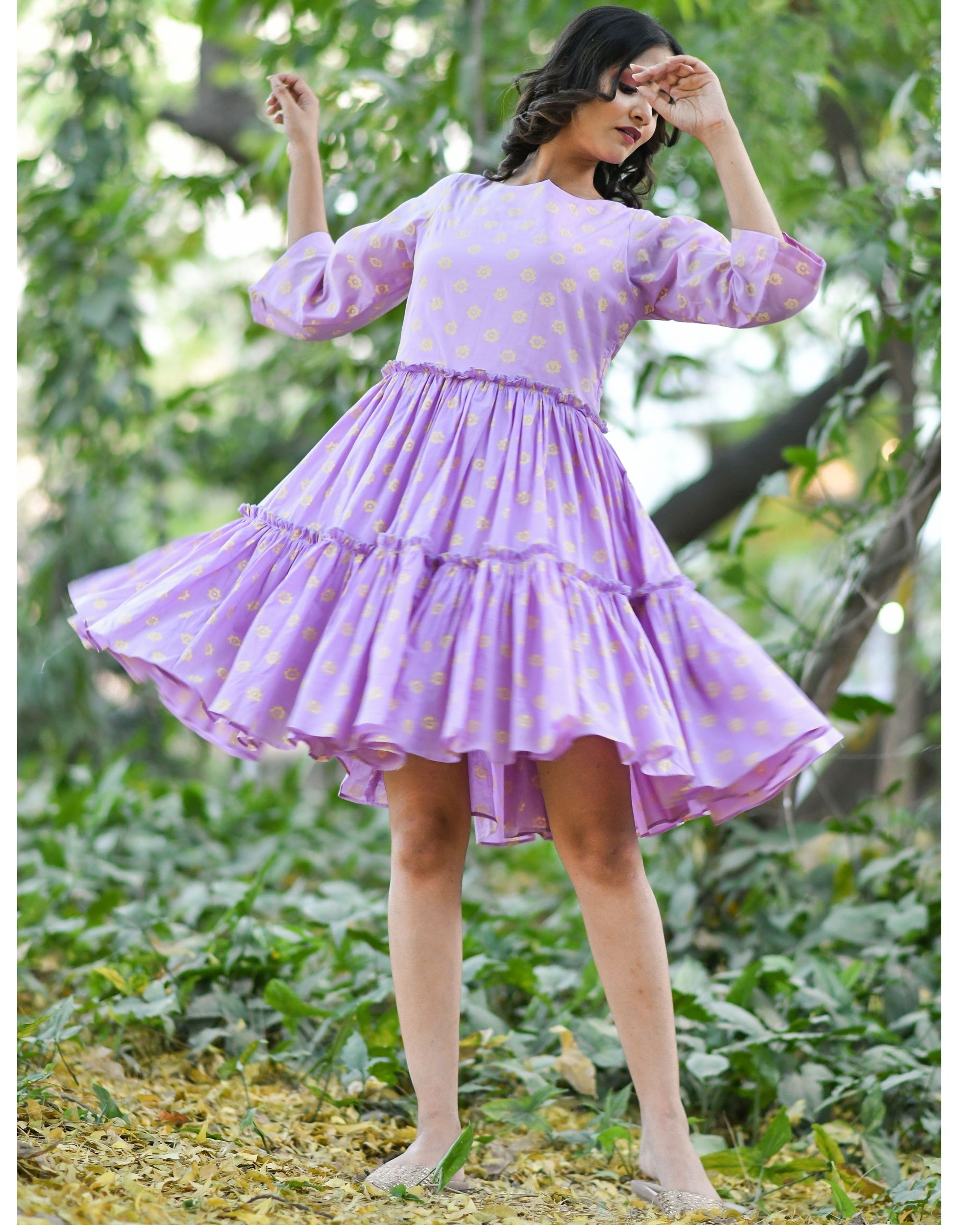 Purple block printed tiered dress