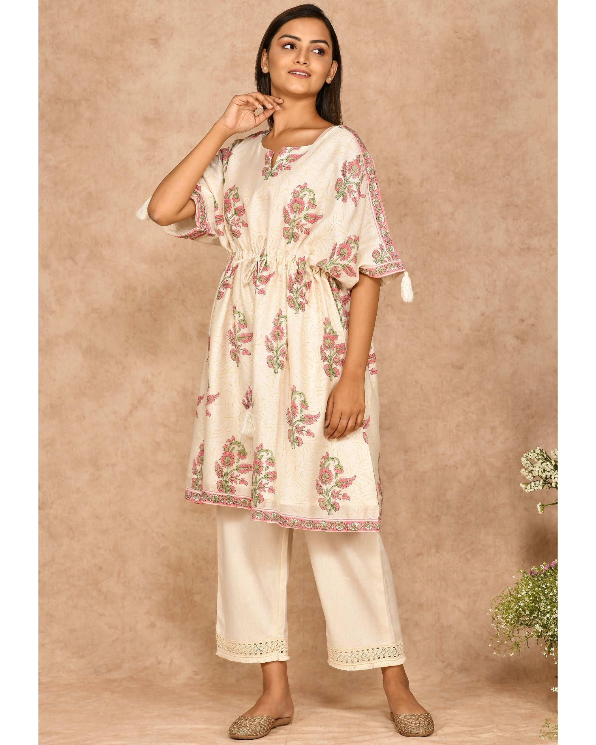 Pink and off white floral printed kaftan with pants - set of two