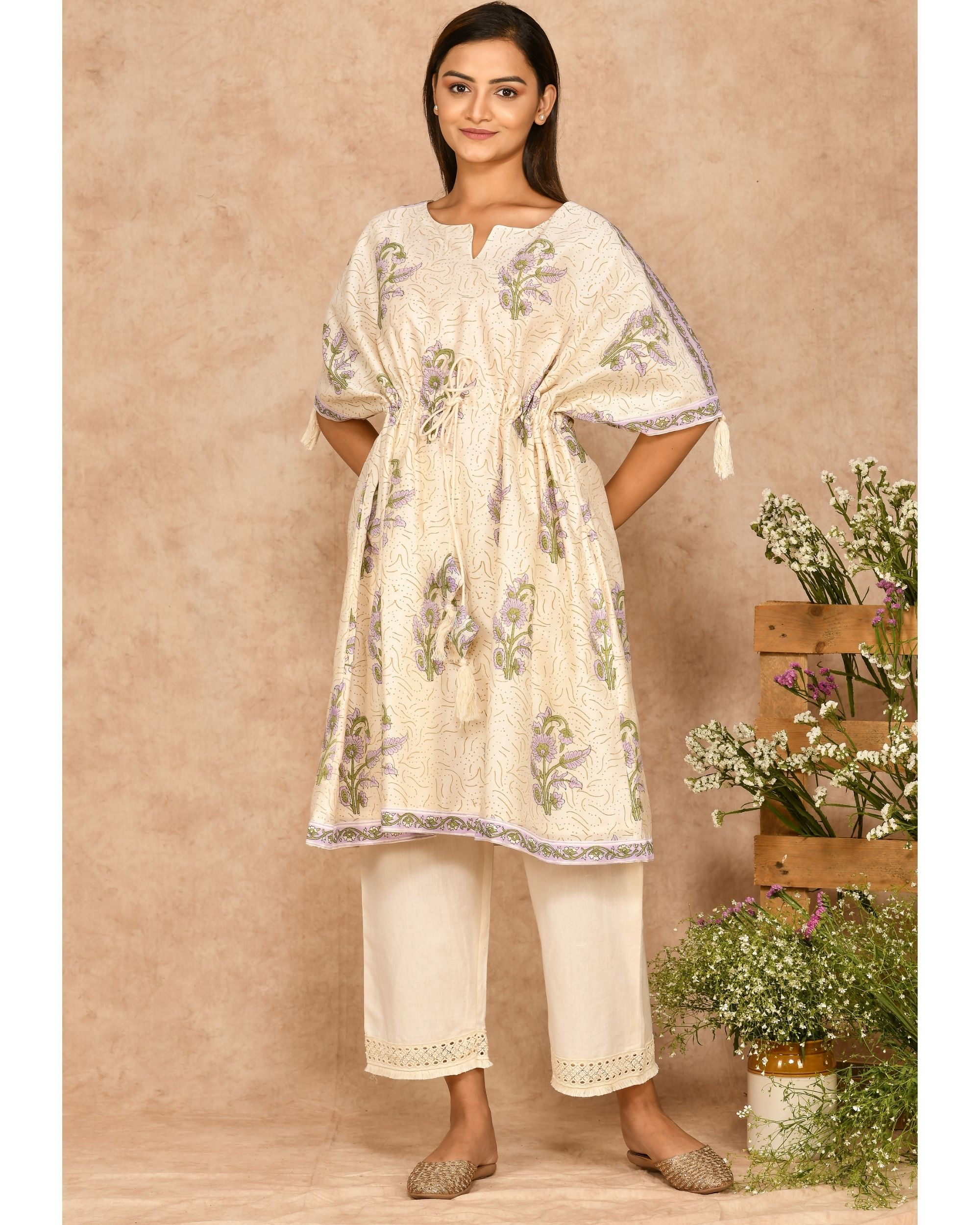 Purple and off white floral printed kaftan with pants - set of two