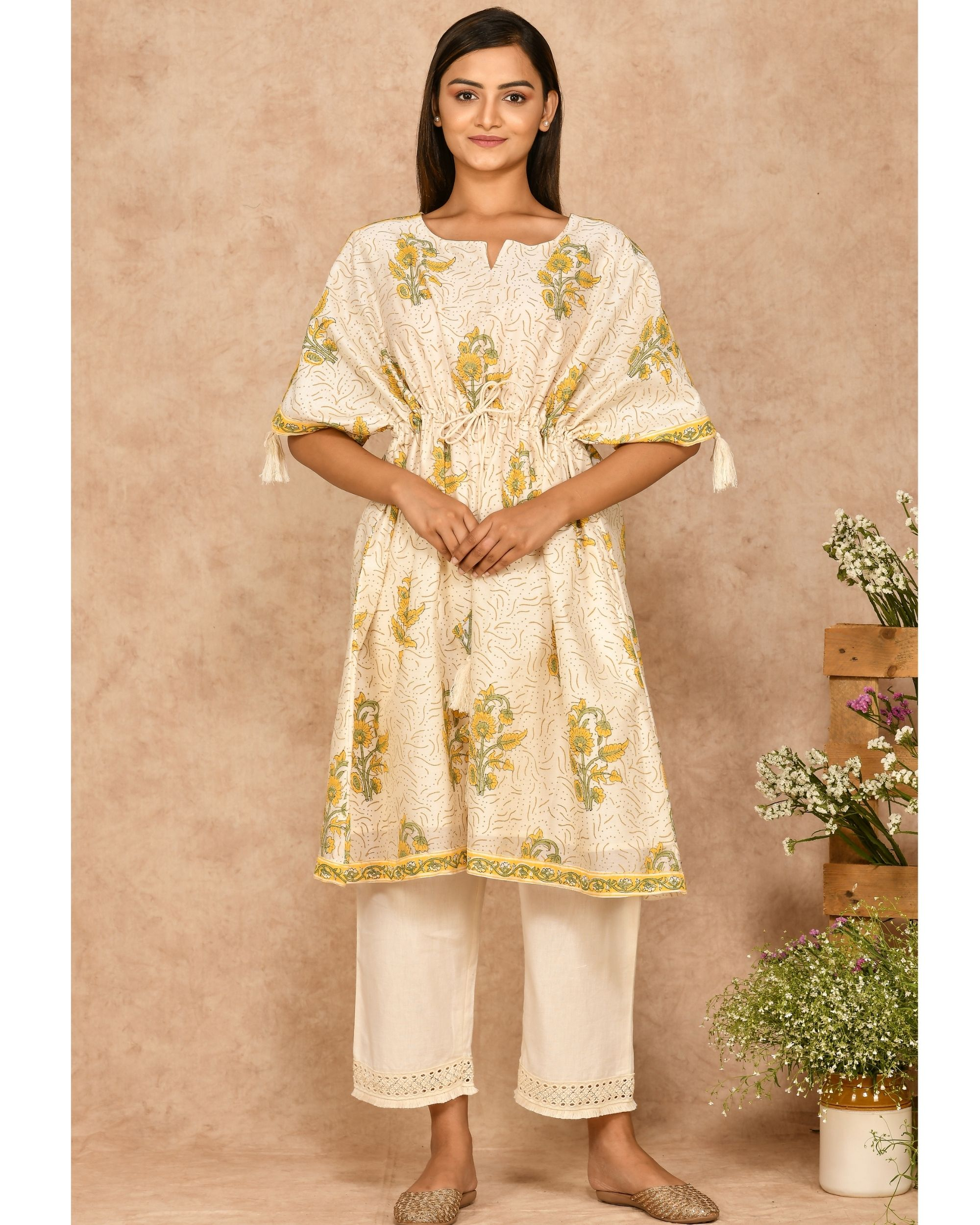 Yellow and off white floral printed kaftan with pants - set of two