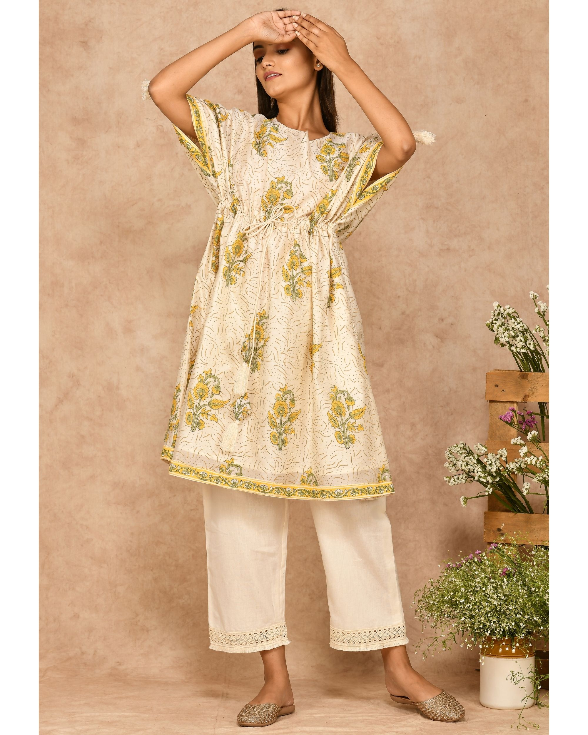 Yellow and off white floral printed kaftan