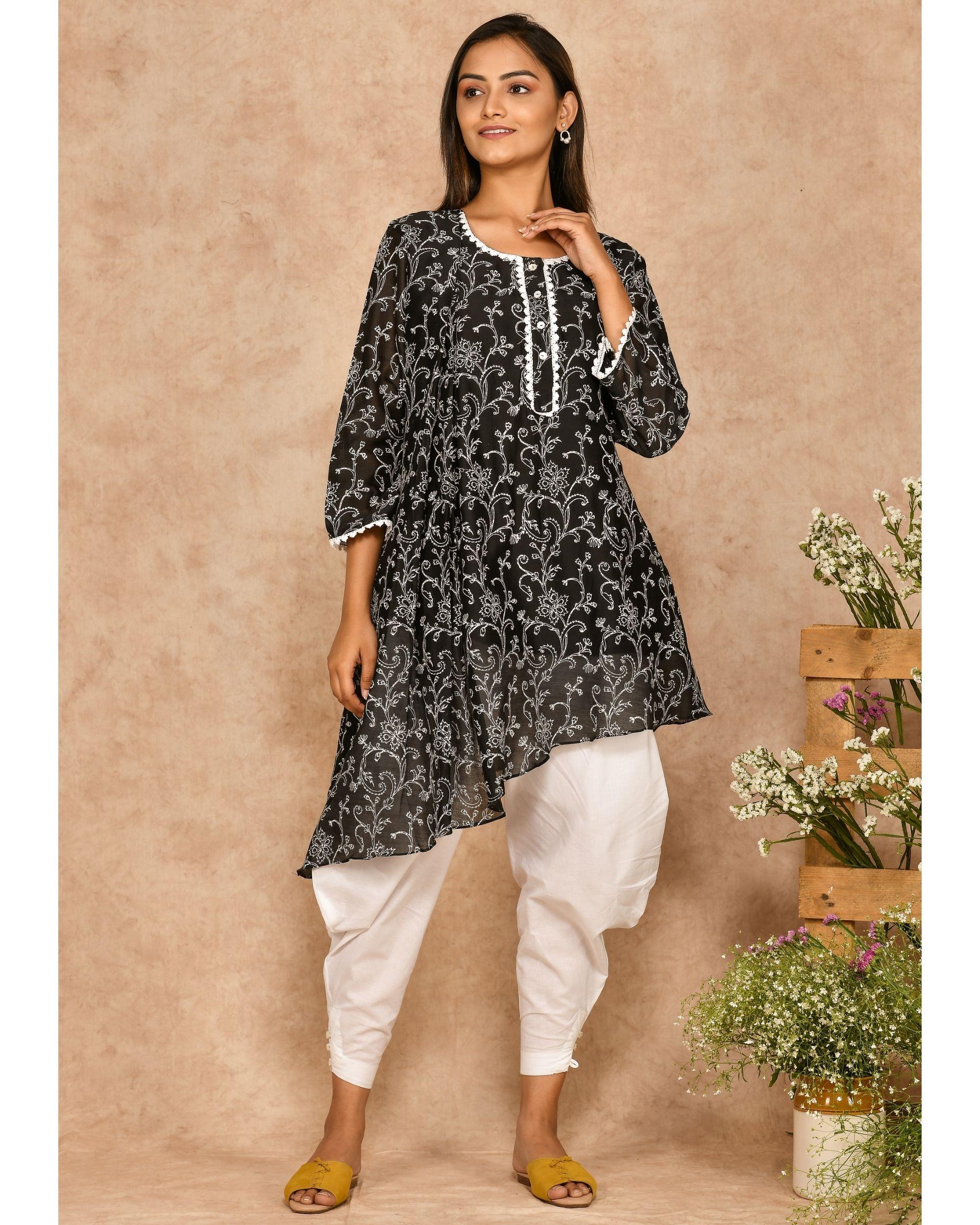 Black hand block printed asymmetrical kurta with dhoti pants - set of two