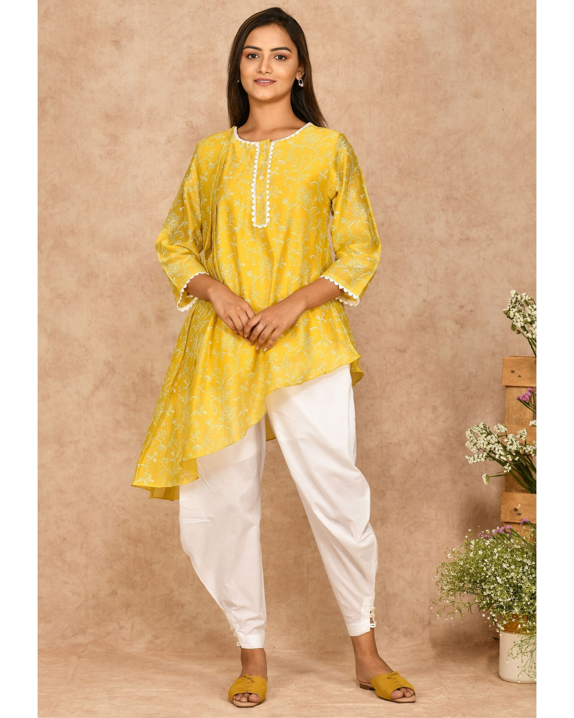 Yellow hand block printed asymmetrical kurta with dhoti pants - set of two