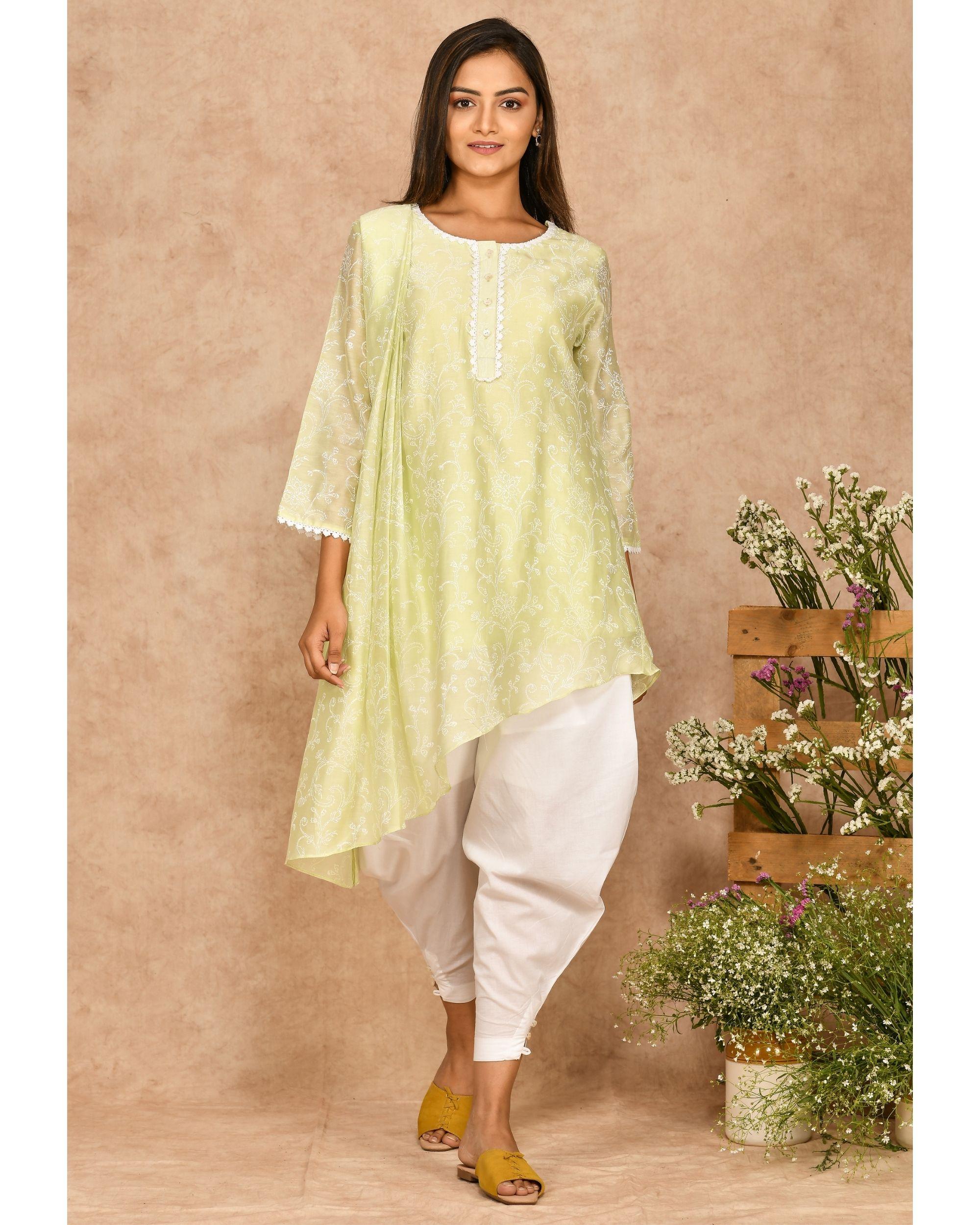 Mint green hand block printed asymmetrical kurta with dhoti pants - set of two