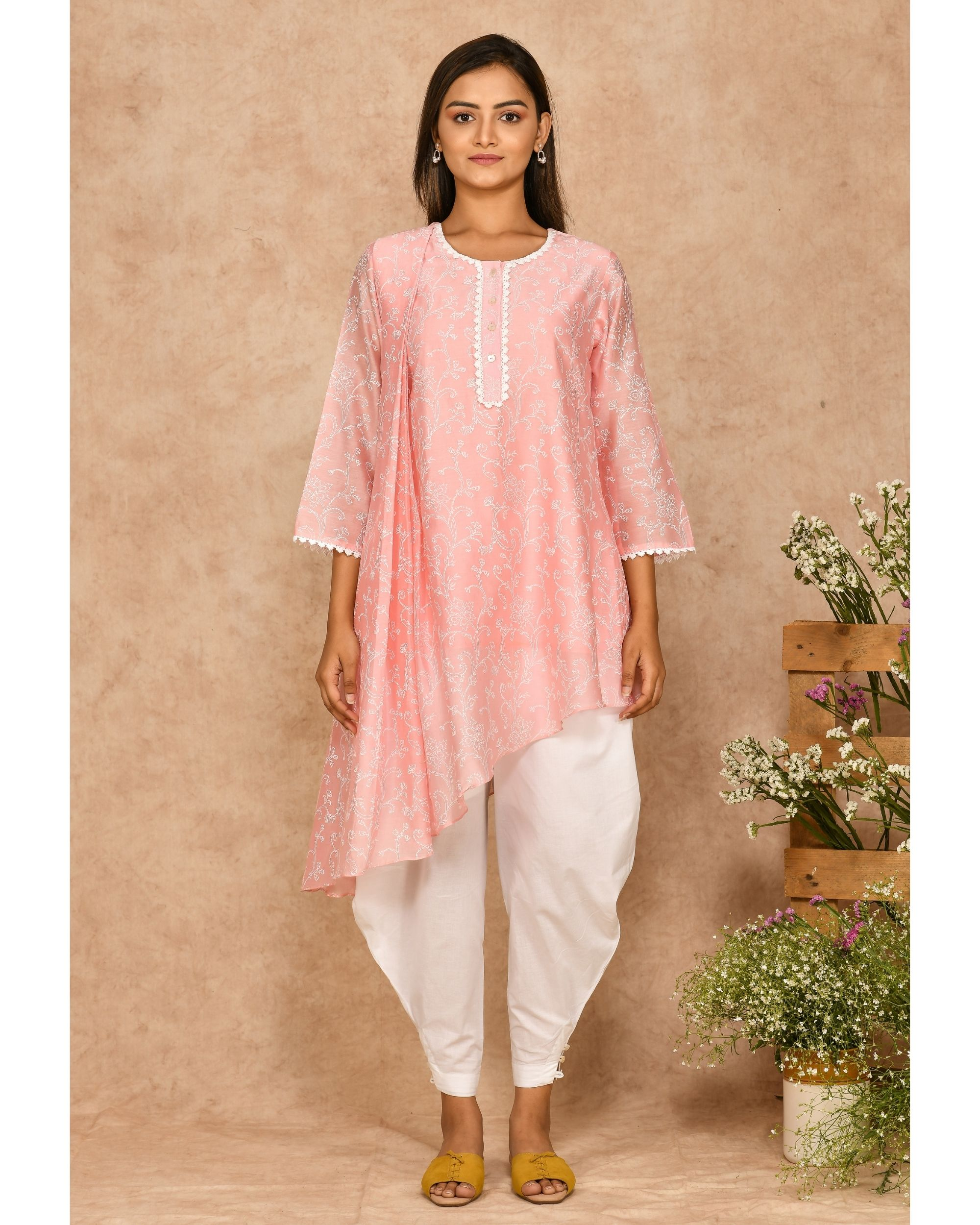 Pink and white hand block printed asymmetrical kurta with dhoti pants - set of two