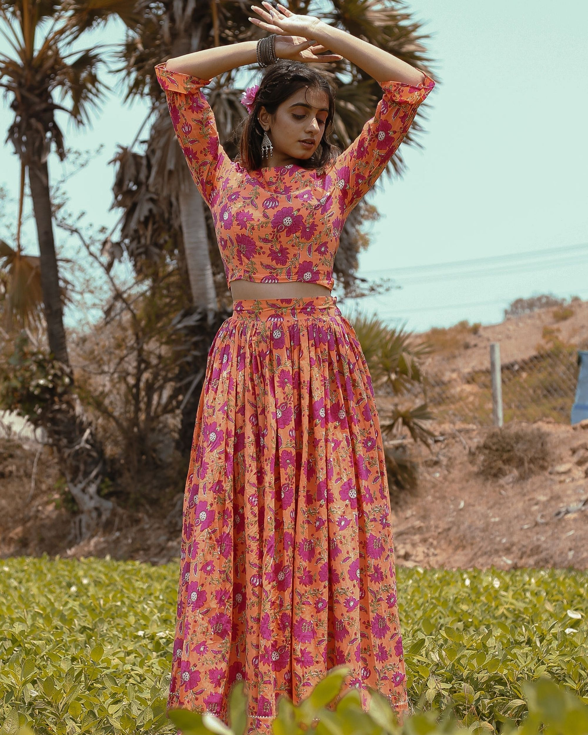 Orange and pink floral printed crop top with skirt - set of two