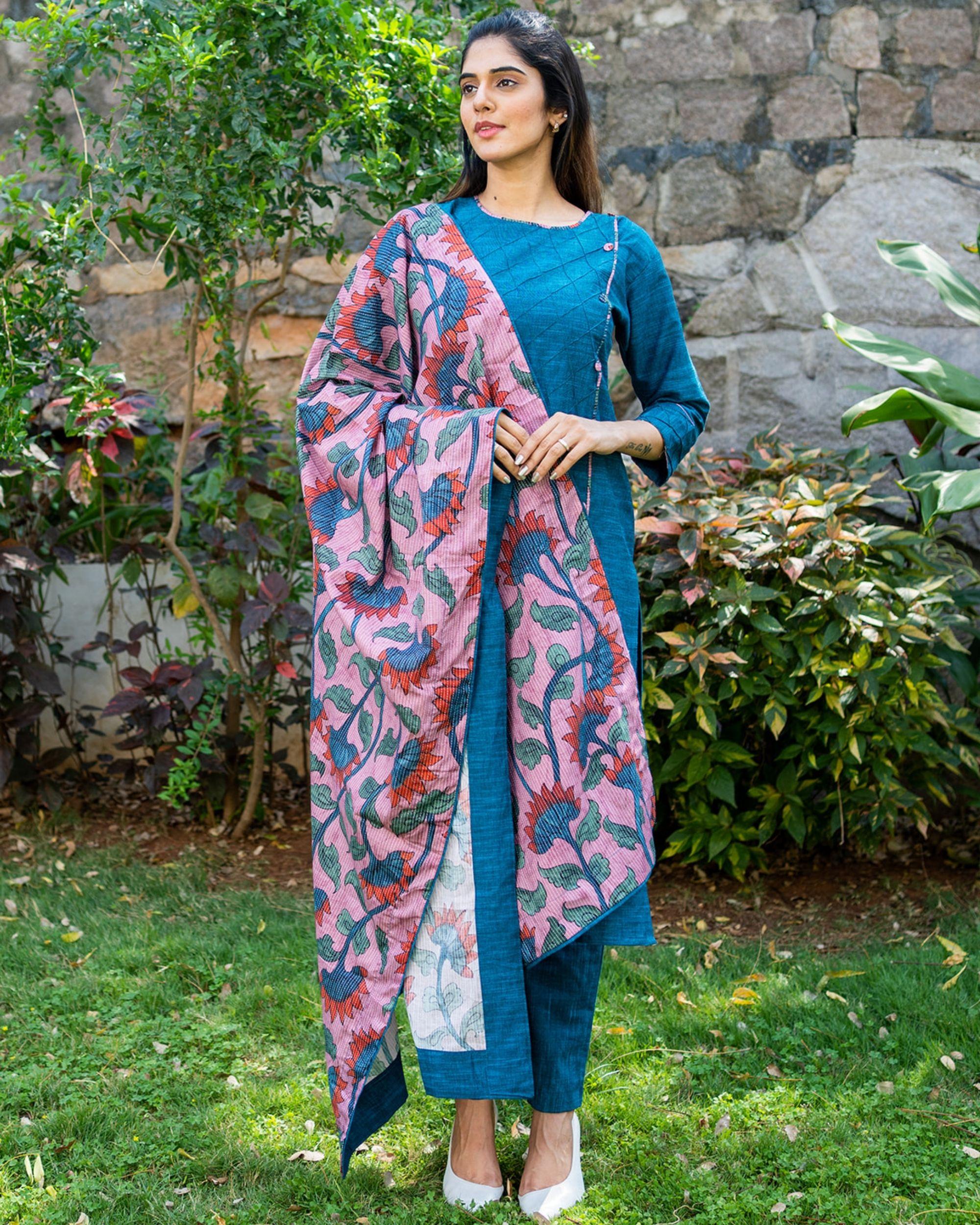 Peacock blue kurta and pants with printed kalamkari dupatta - set of three