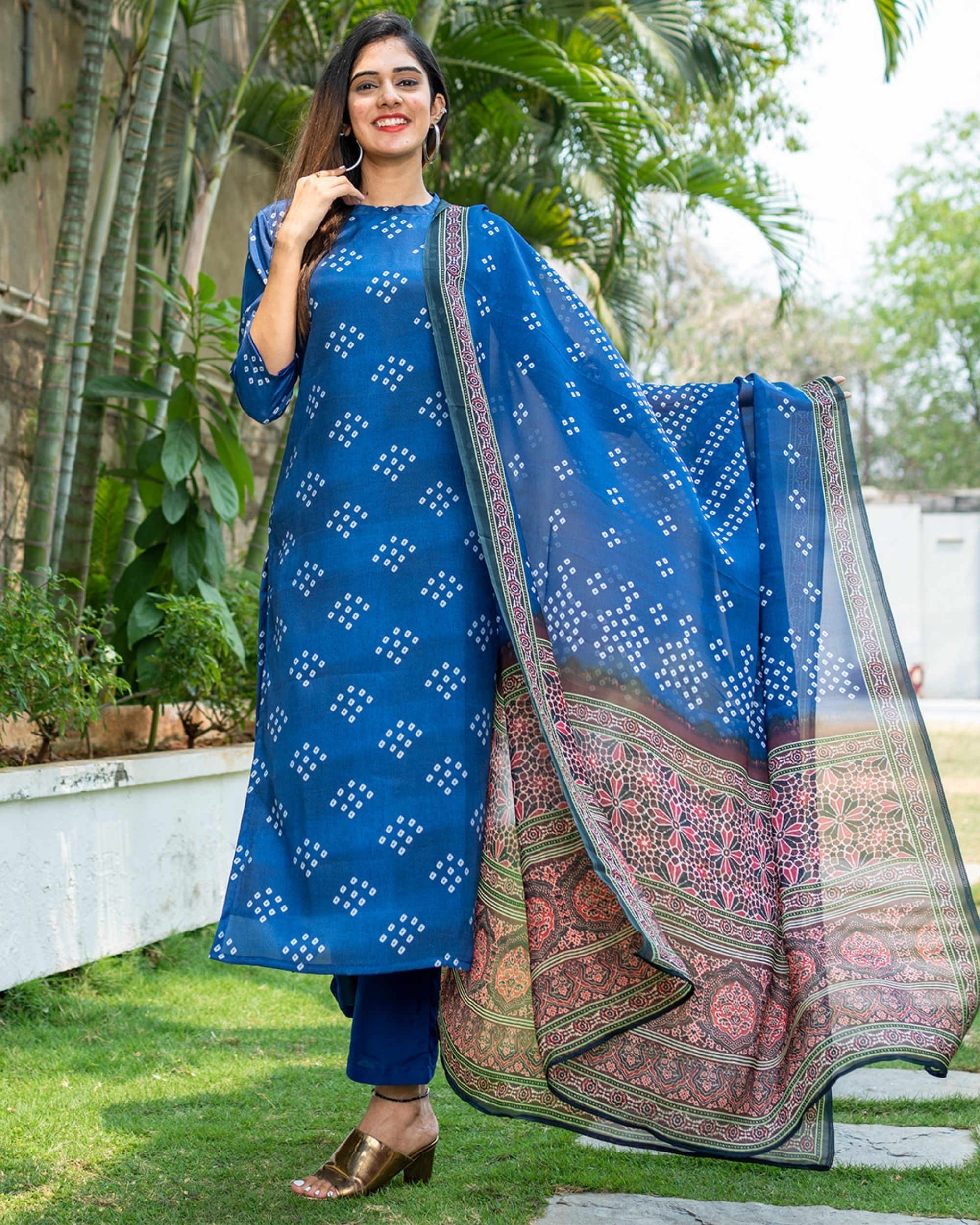 Blue bandhini kurta with organza dupatta - set of two