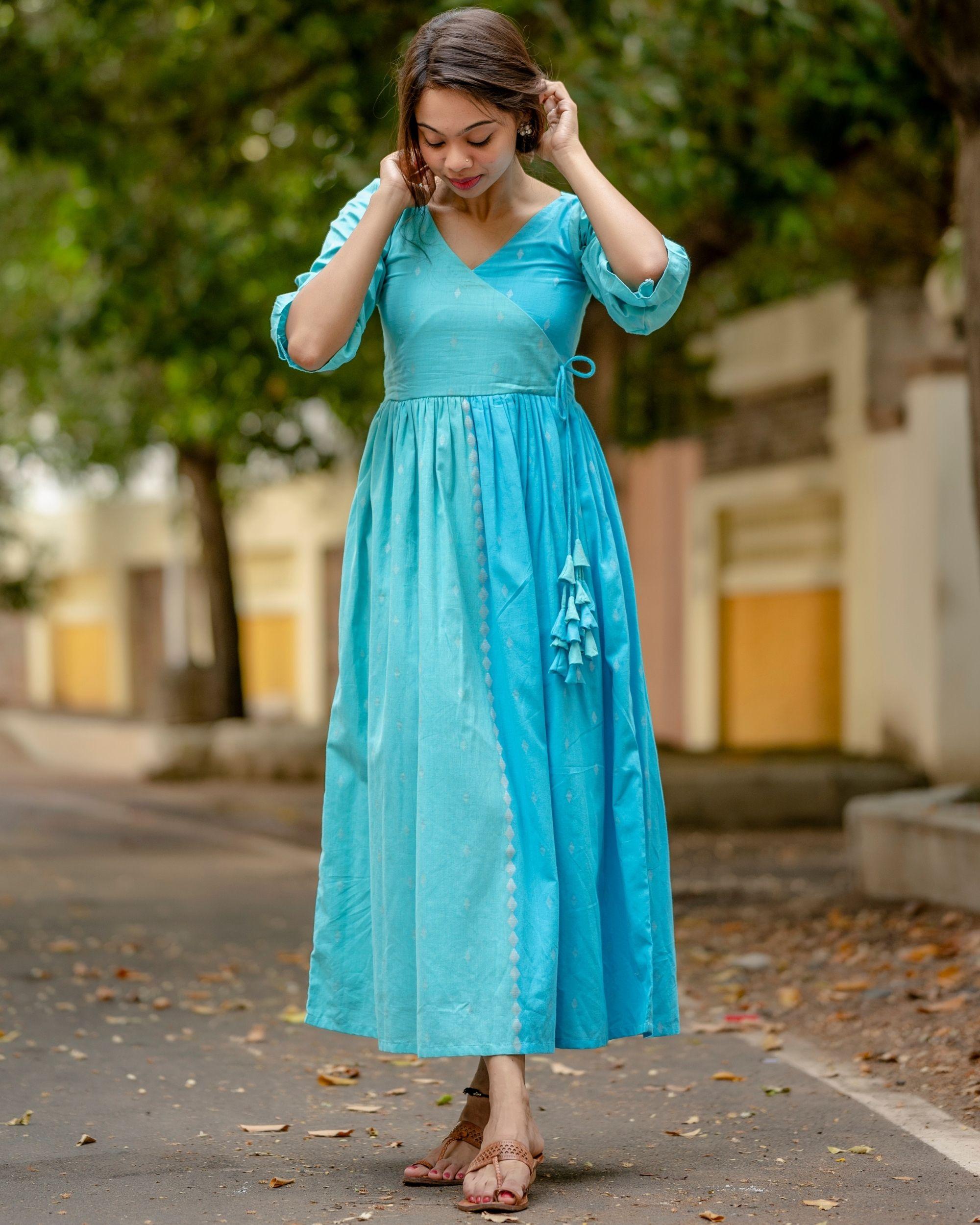 Sky blue angrakha dress