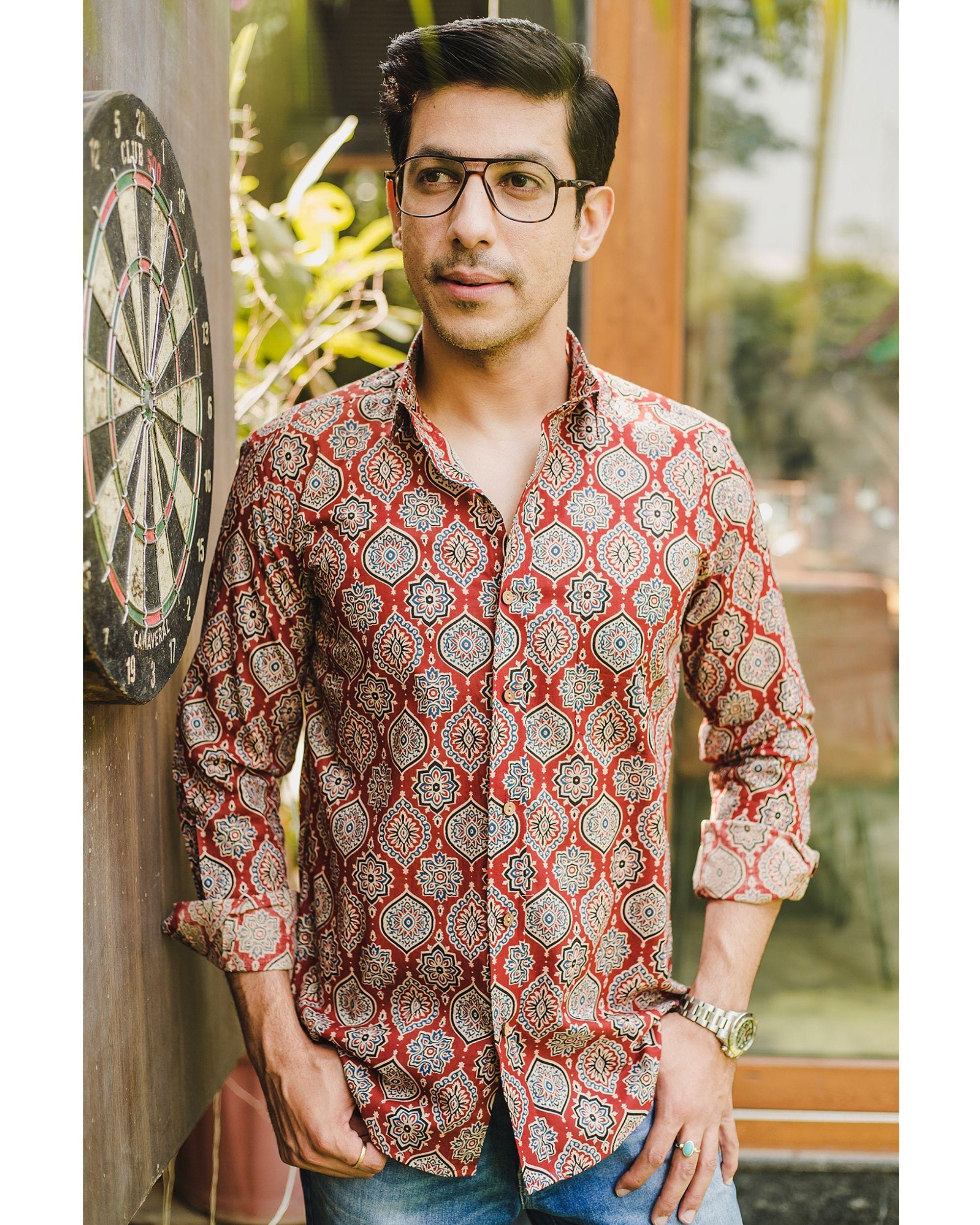 Red persian ajrakh printed shirt