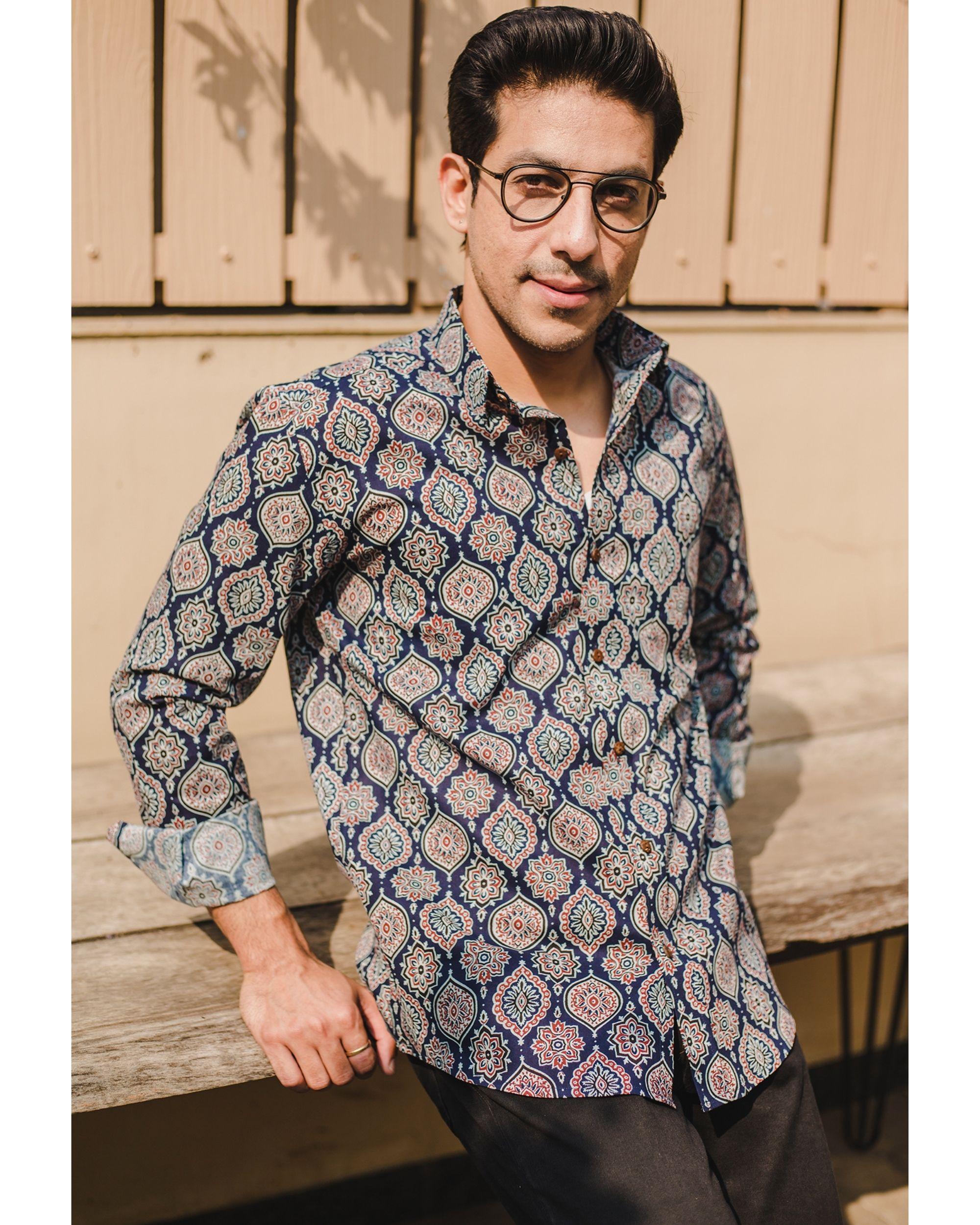 Blue persian ajrakh printed shirt