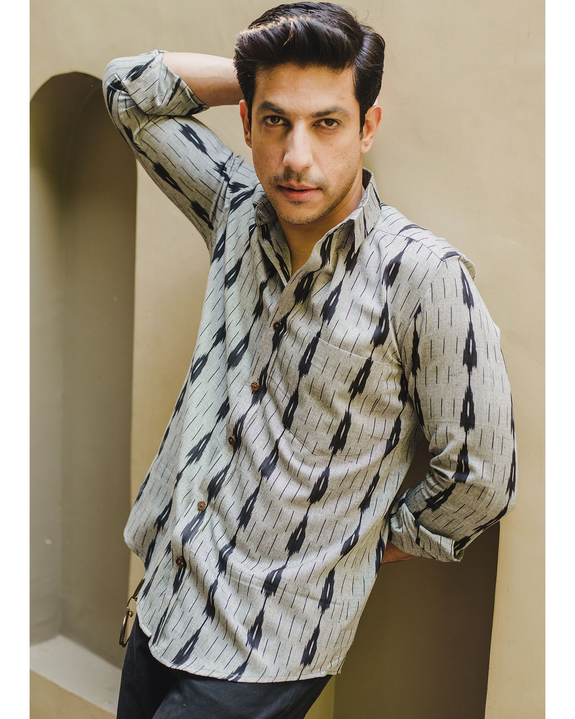 Grey and black double striped ikat shirt