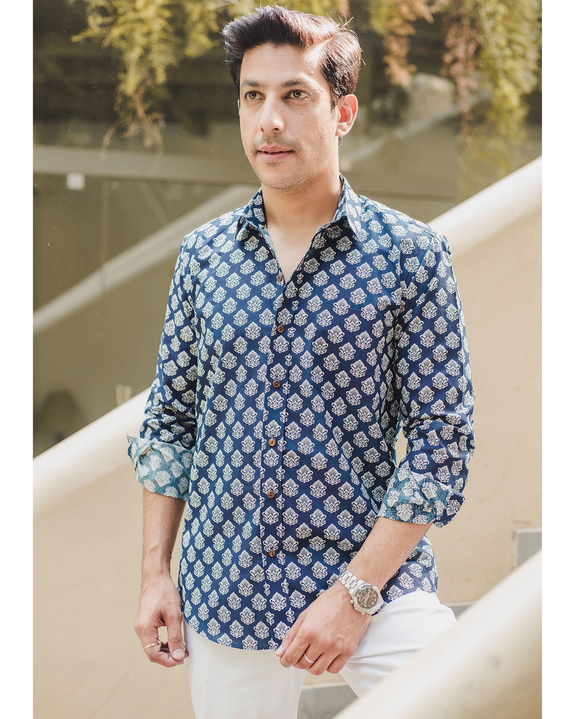 Blue mughal printed shirt