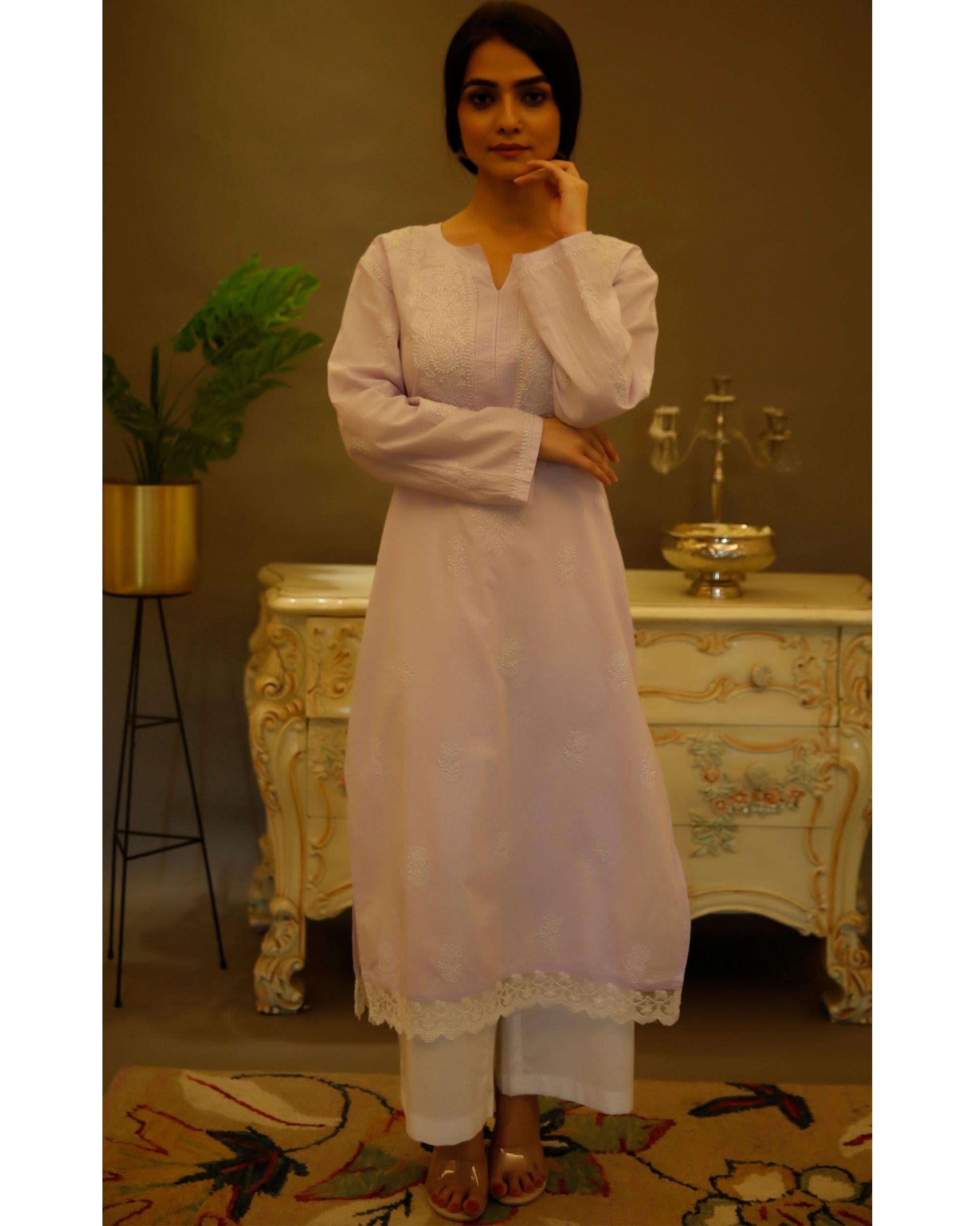 Lilac chikankari cotton kurta
