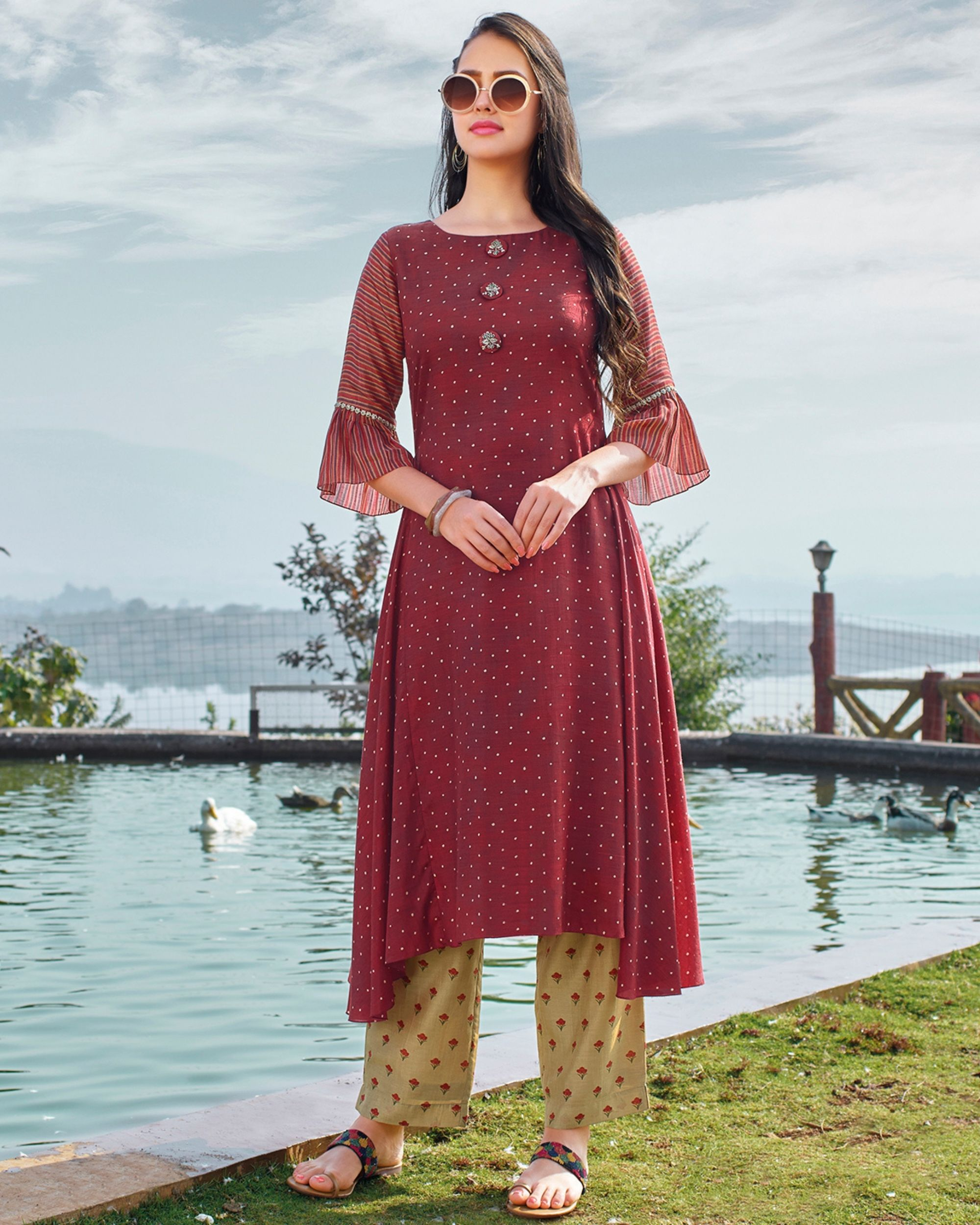 Maroon digital printed hand embroidered kurta and beige pants - set of two