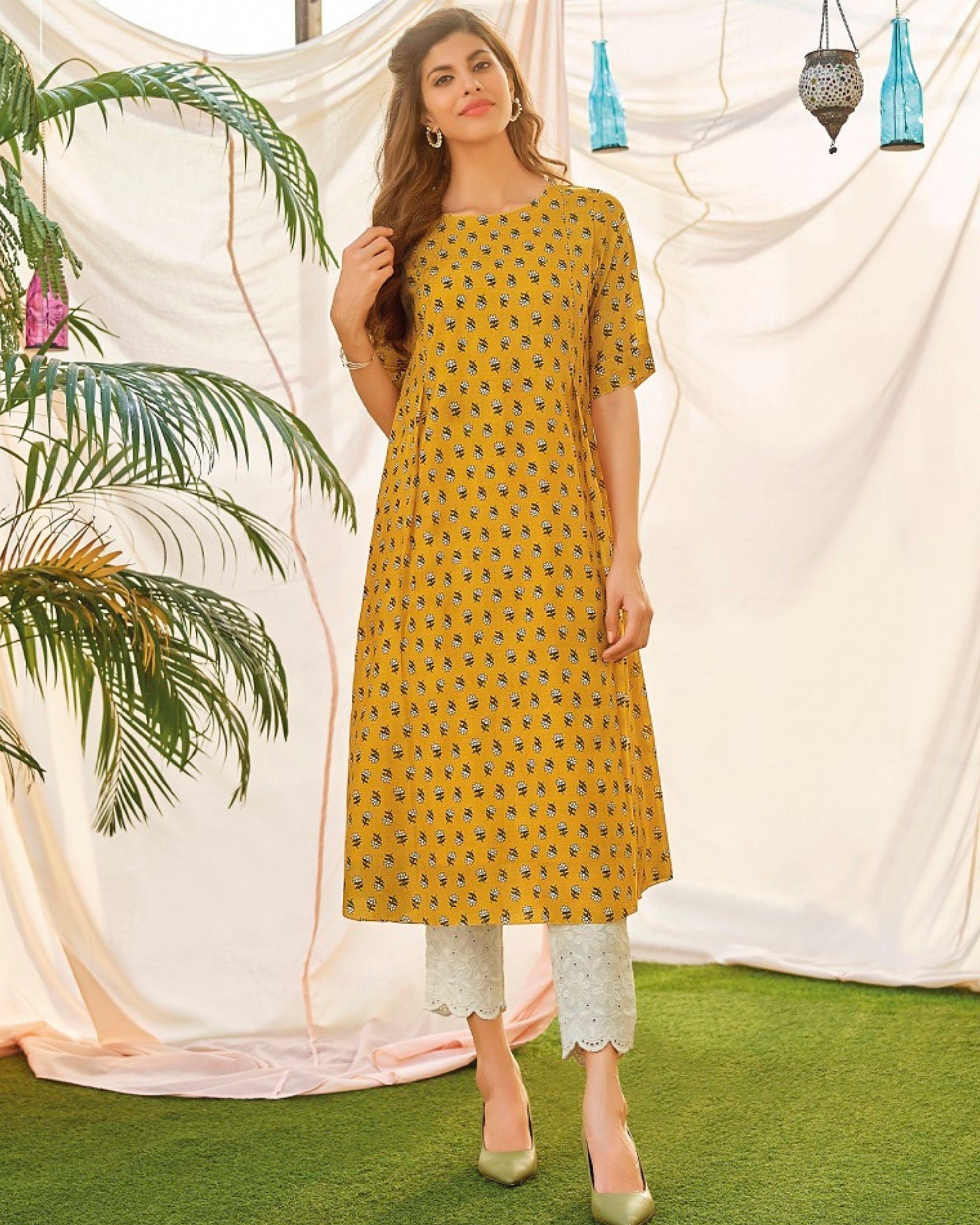 Mustard yellow embellished digital printed kurta