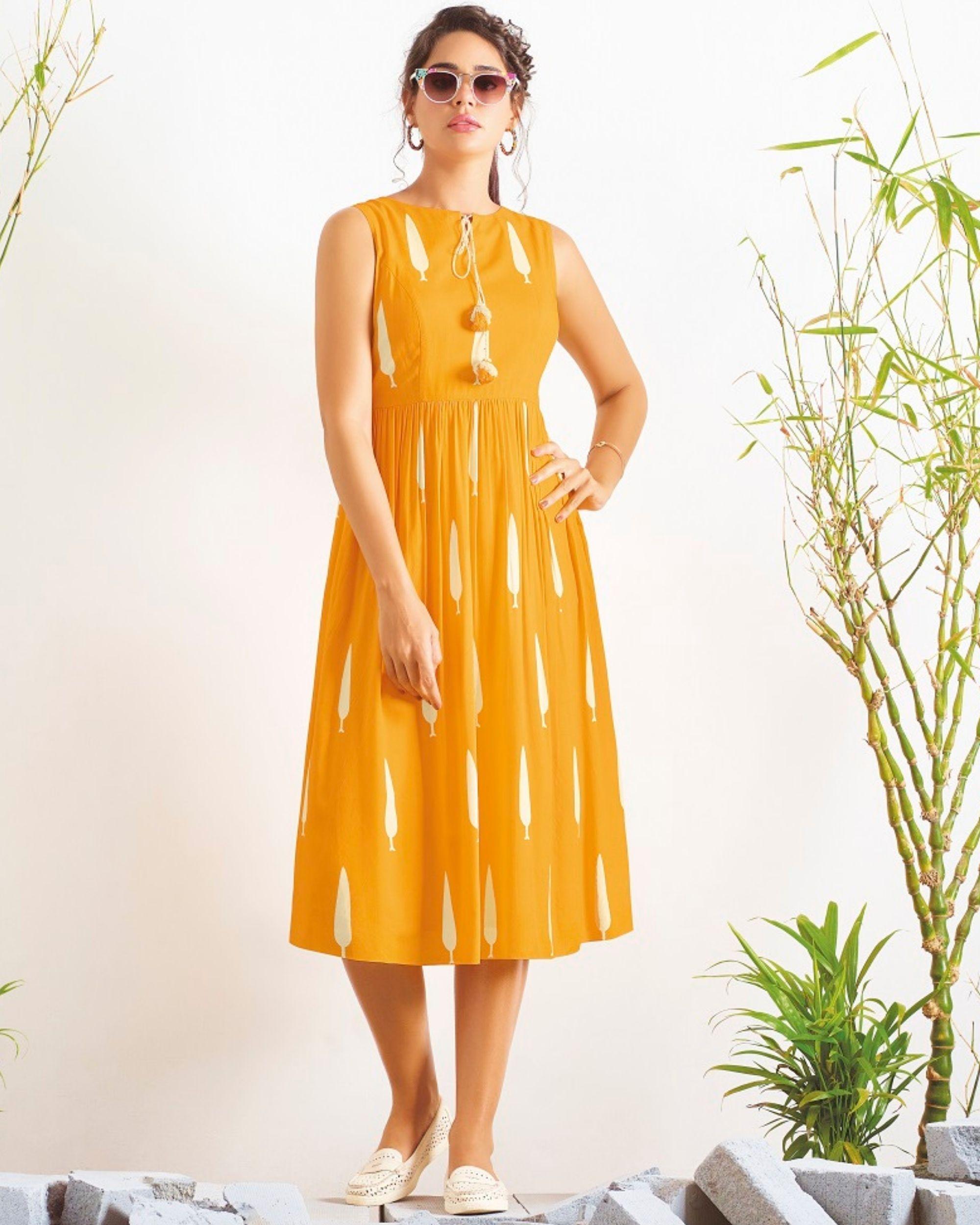 Yellow digital printed dress