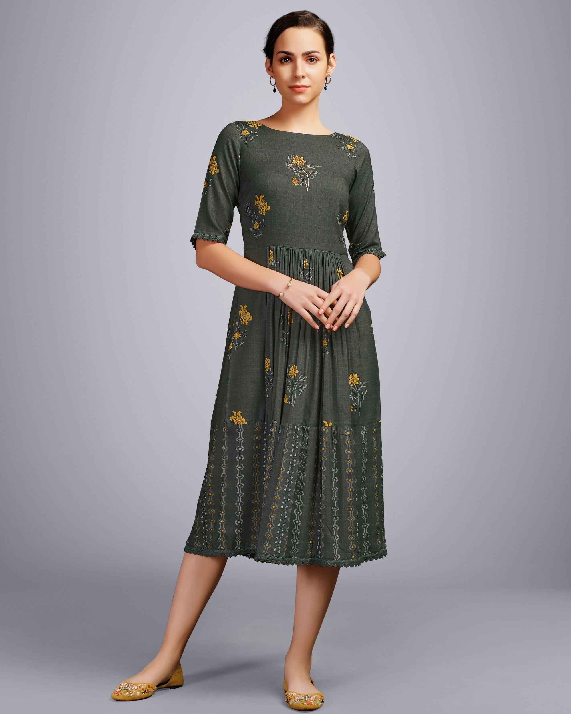 Grey floral digital printed dress