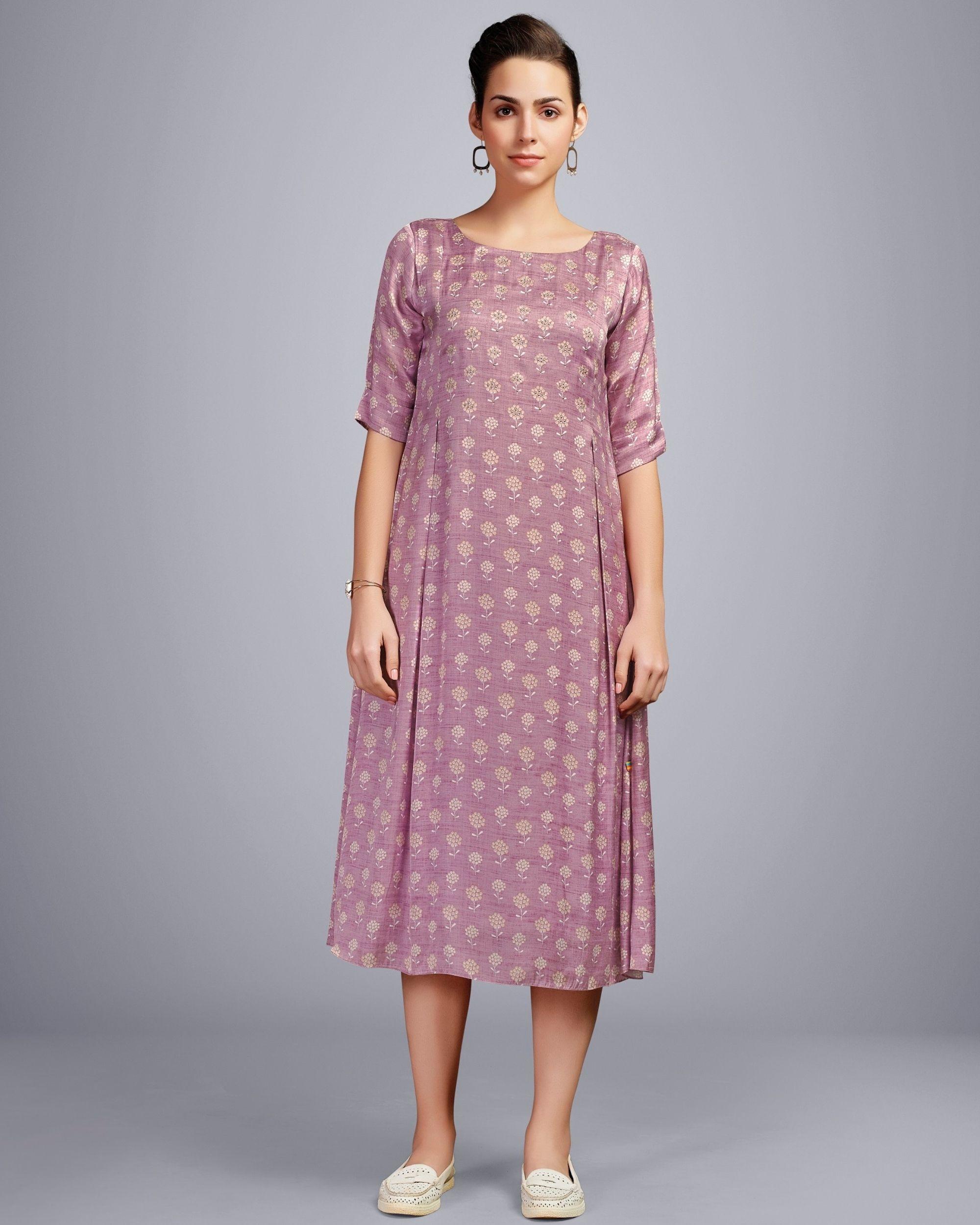Lavender embellished digital printed dress
