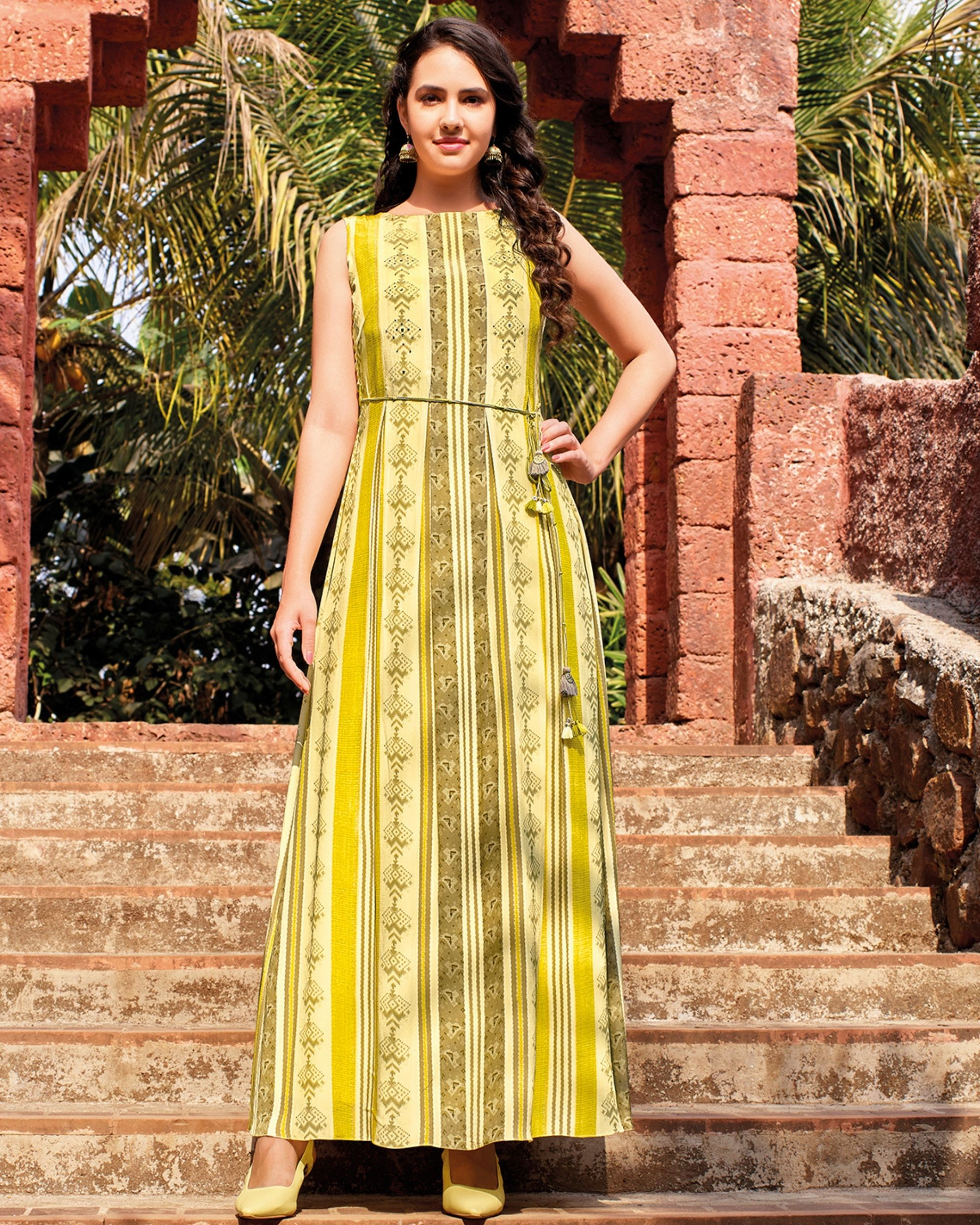 Yellow floral digital printed embellished dress