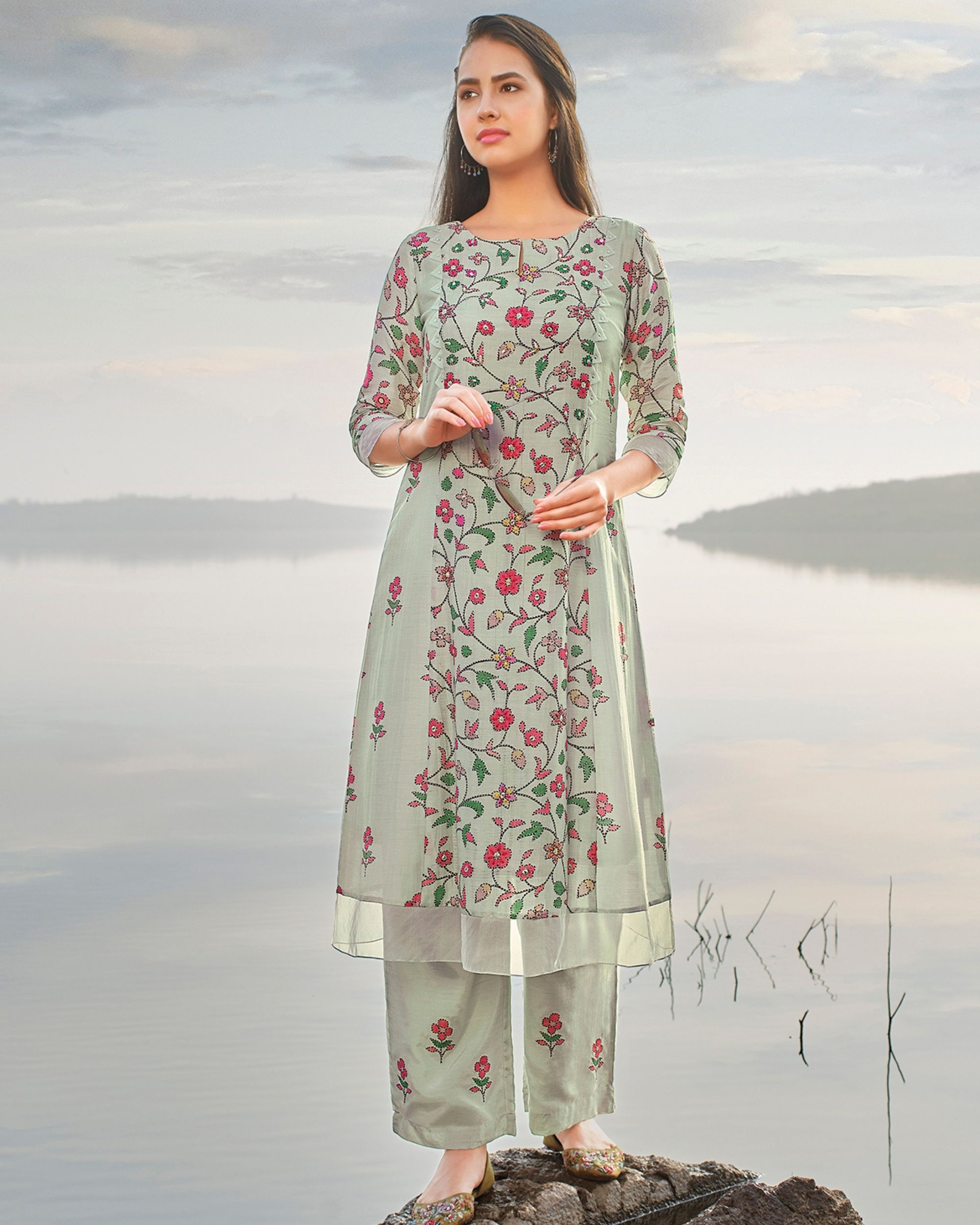 Pastel blue floral printed and embroidered kurta with pants - set of two