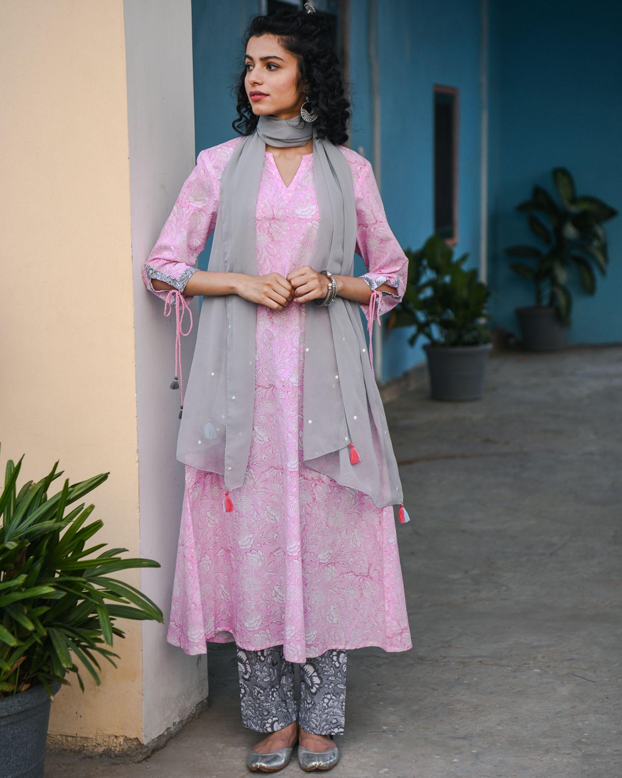 Ahe pink hand block printed kurta
