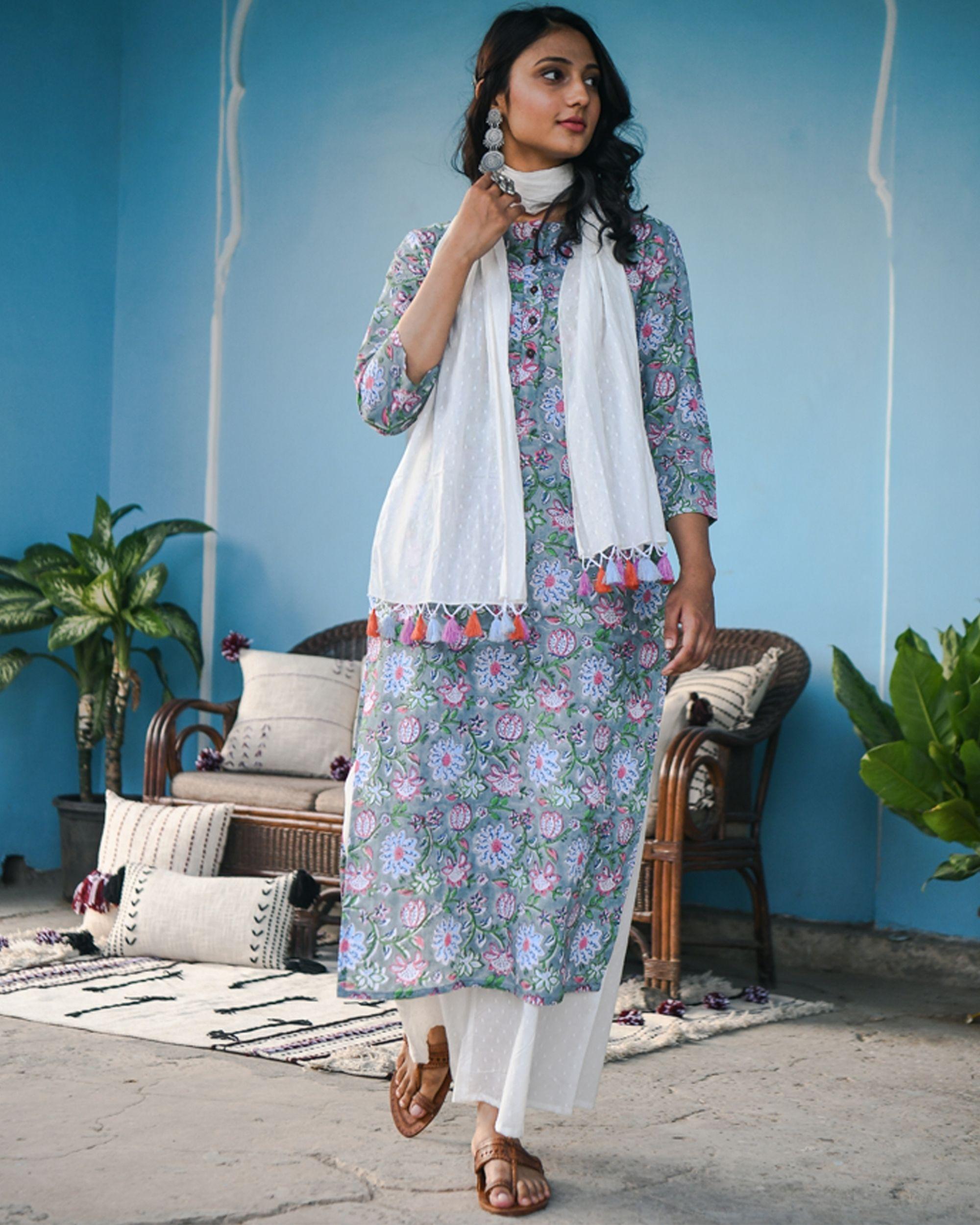 Pahi grey floral kurta and white flared palazzo - set of two