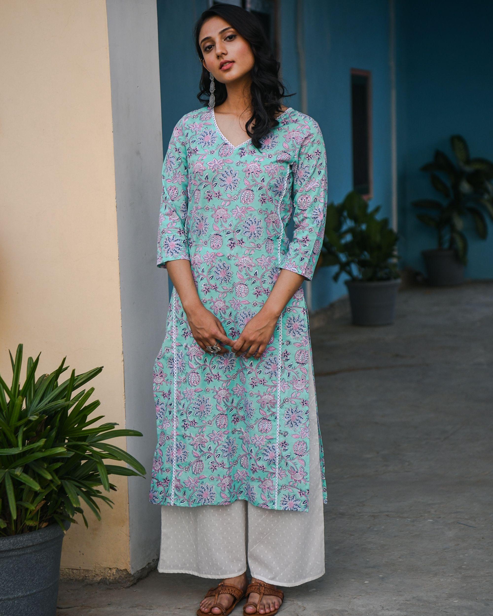 Ketak green printed lace detailed kurta