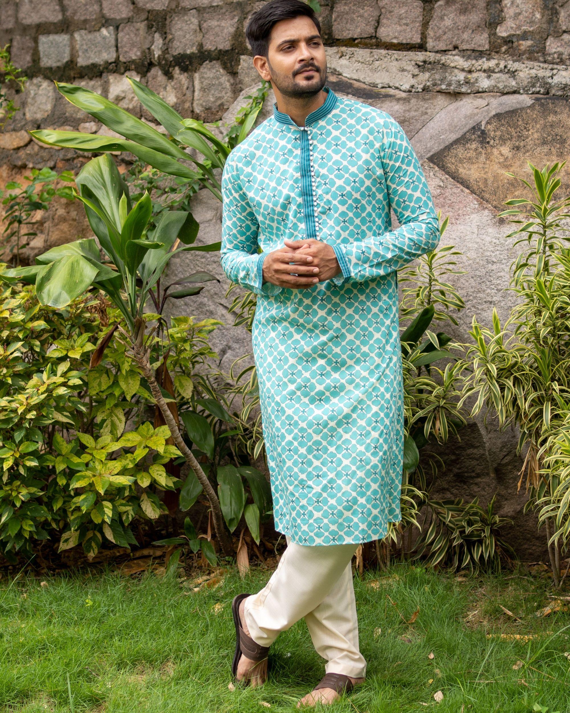 Bluish green printed kurta and off white pants - set of two