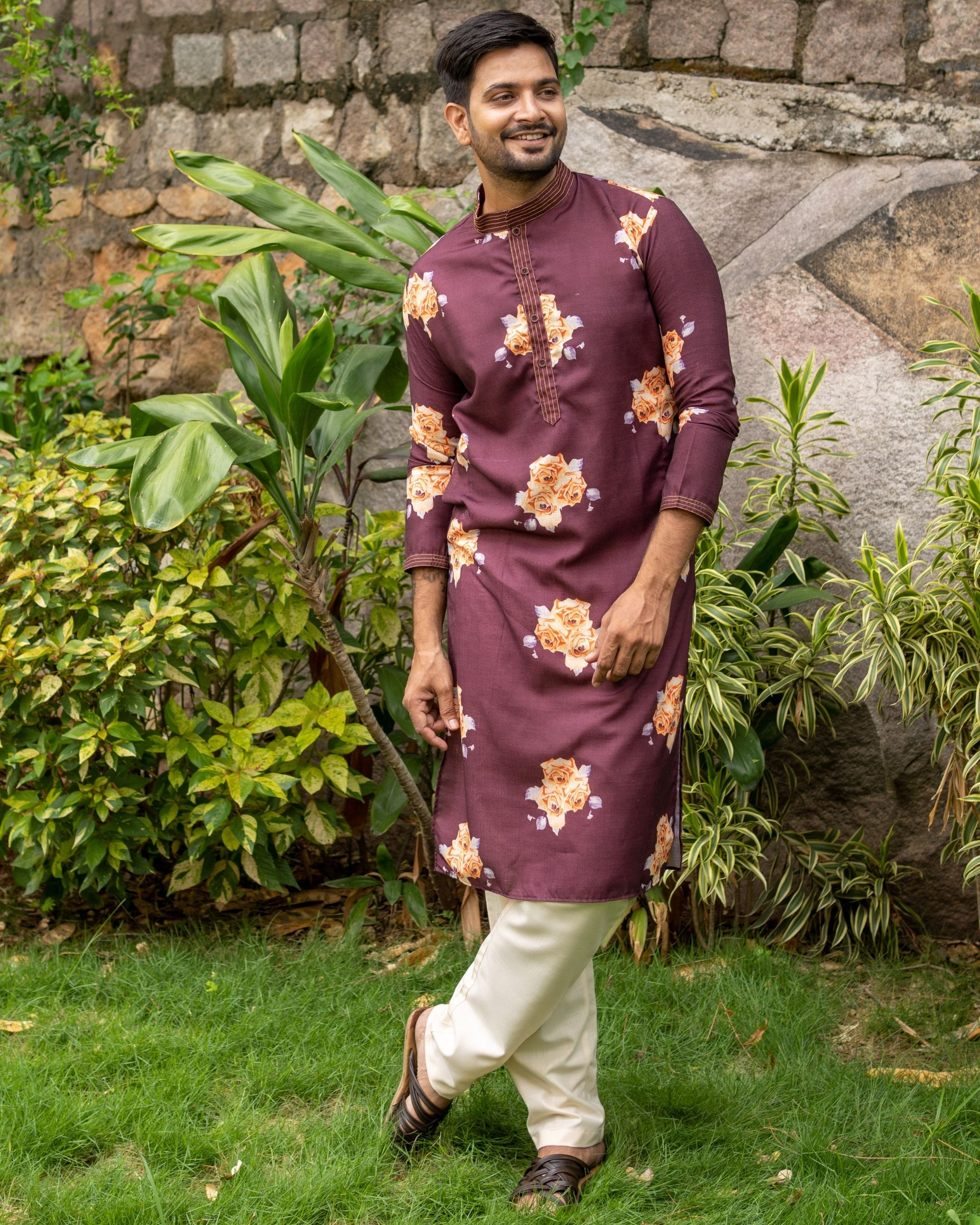 Maroon and rose printed kurta with off white pants - set of two