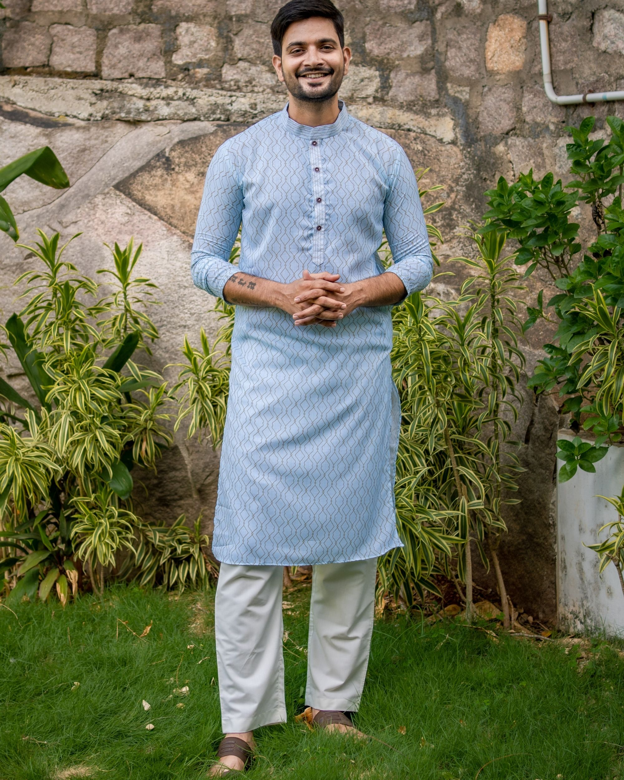 Powder blue jaal printed kurta and off white pants - set of two