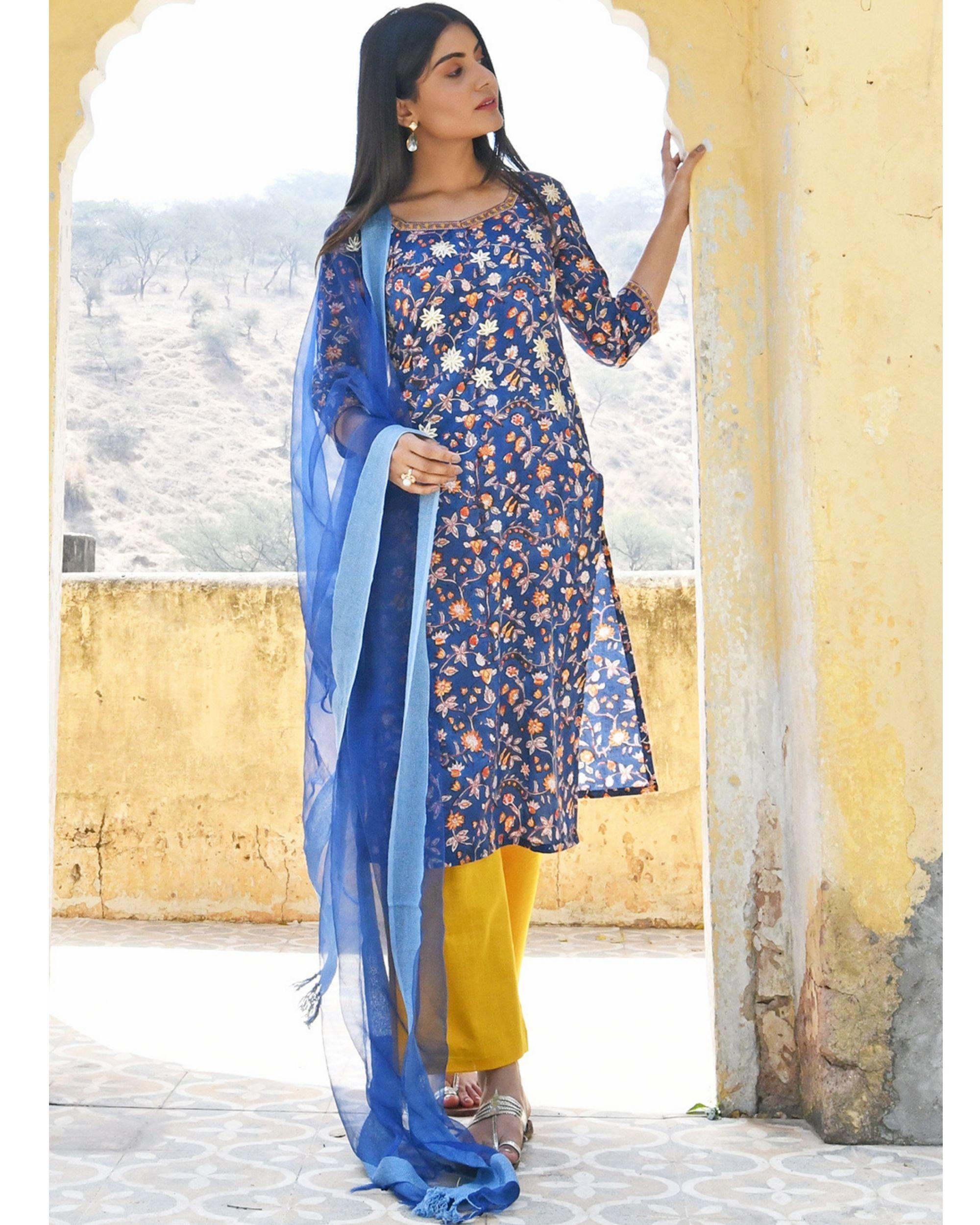 Dark blue floral printed kurta with yellow pants and dupatta - set of three