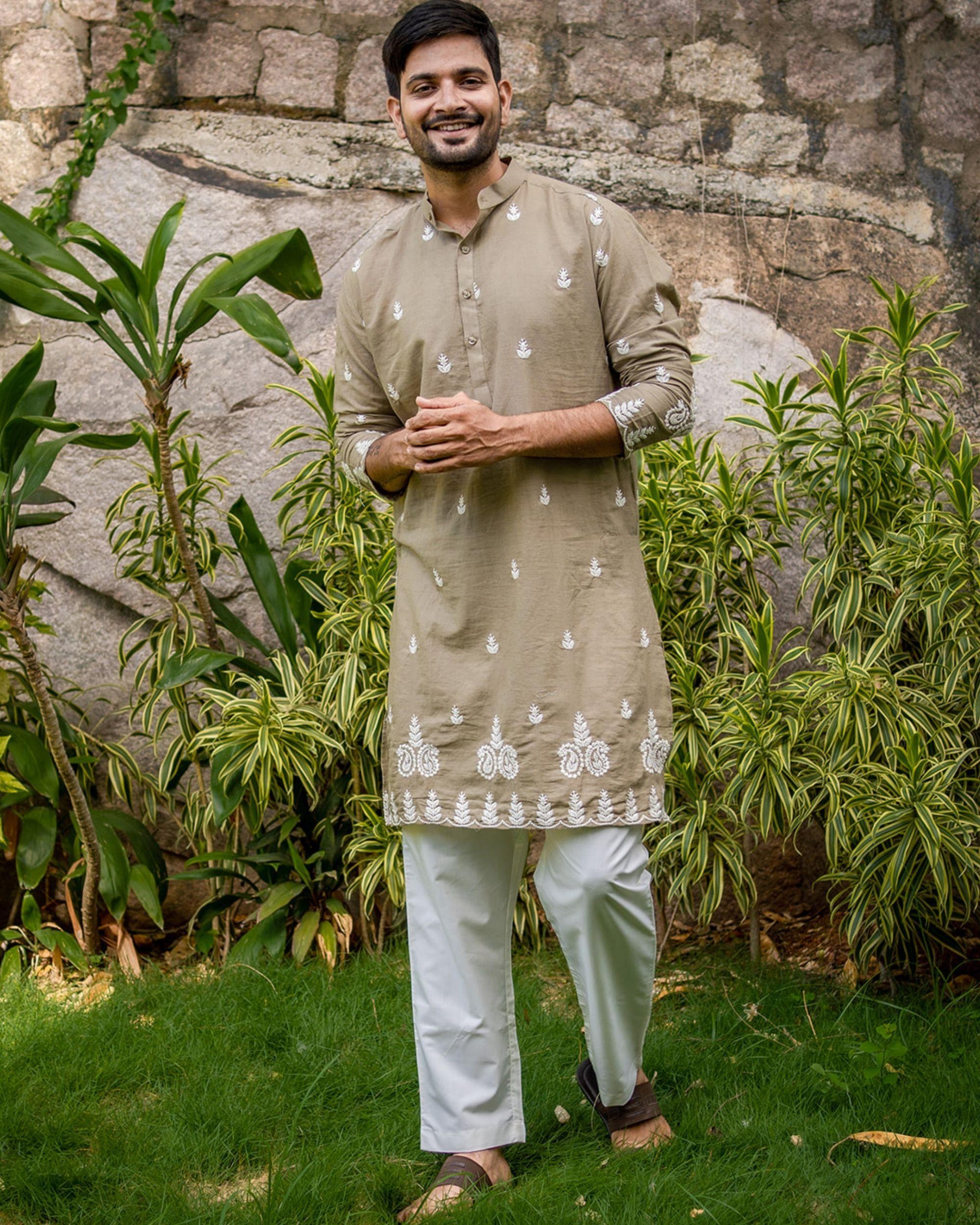 Beige grey embroidered kurta with off white pyjama - set of 2