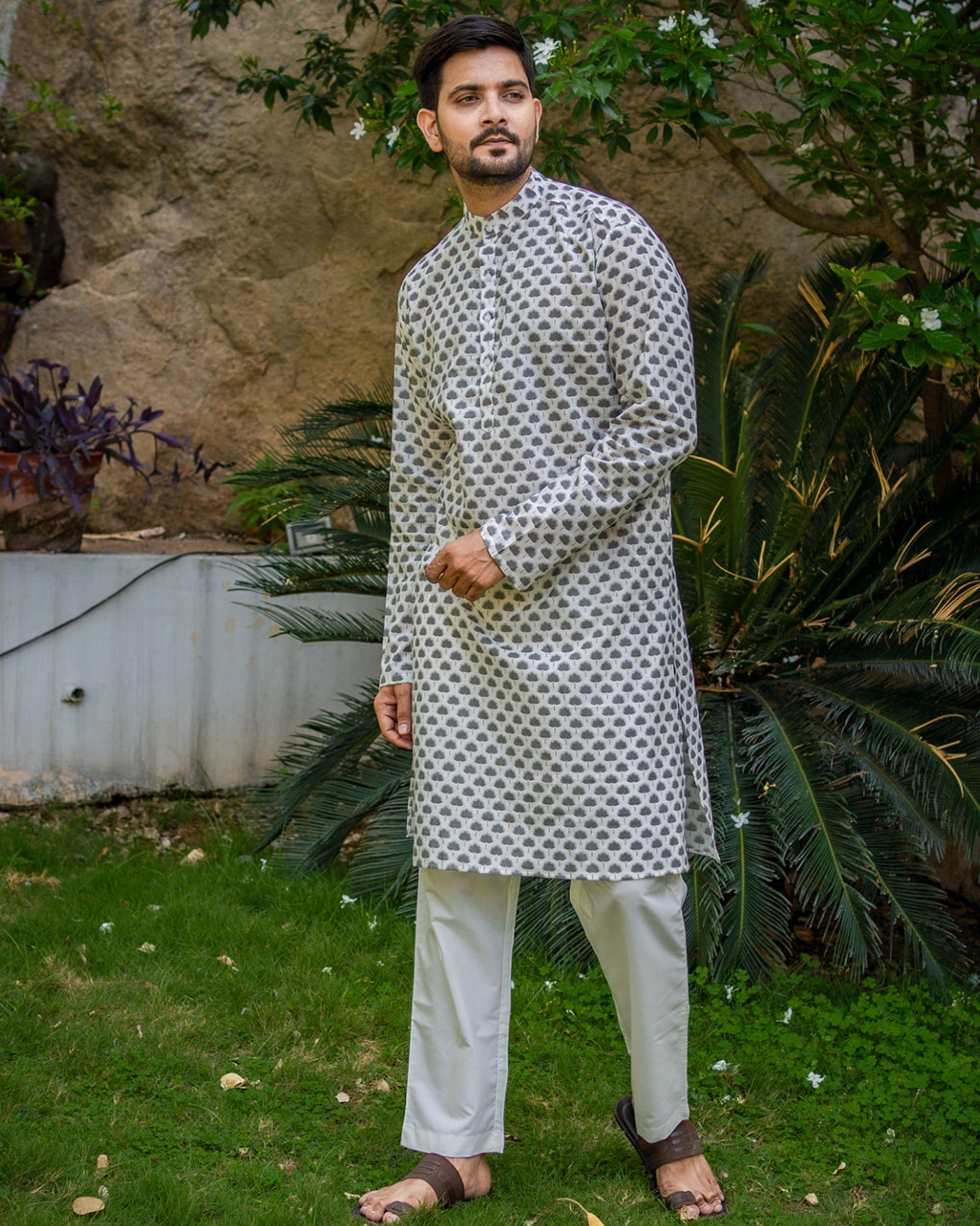 Grey boota printed kurta with white pyjama - set of 2