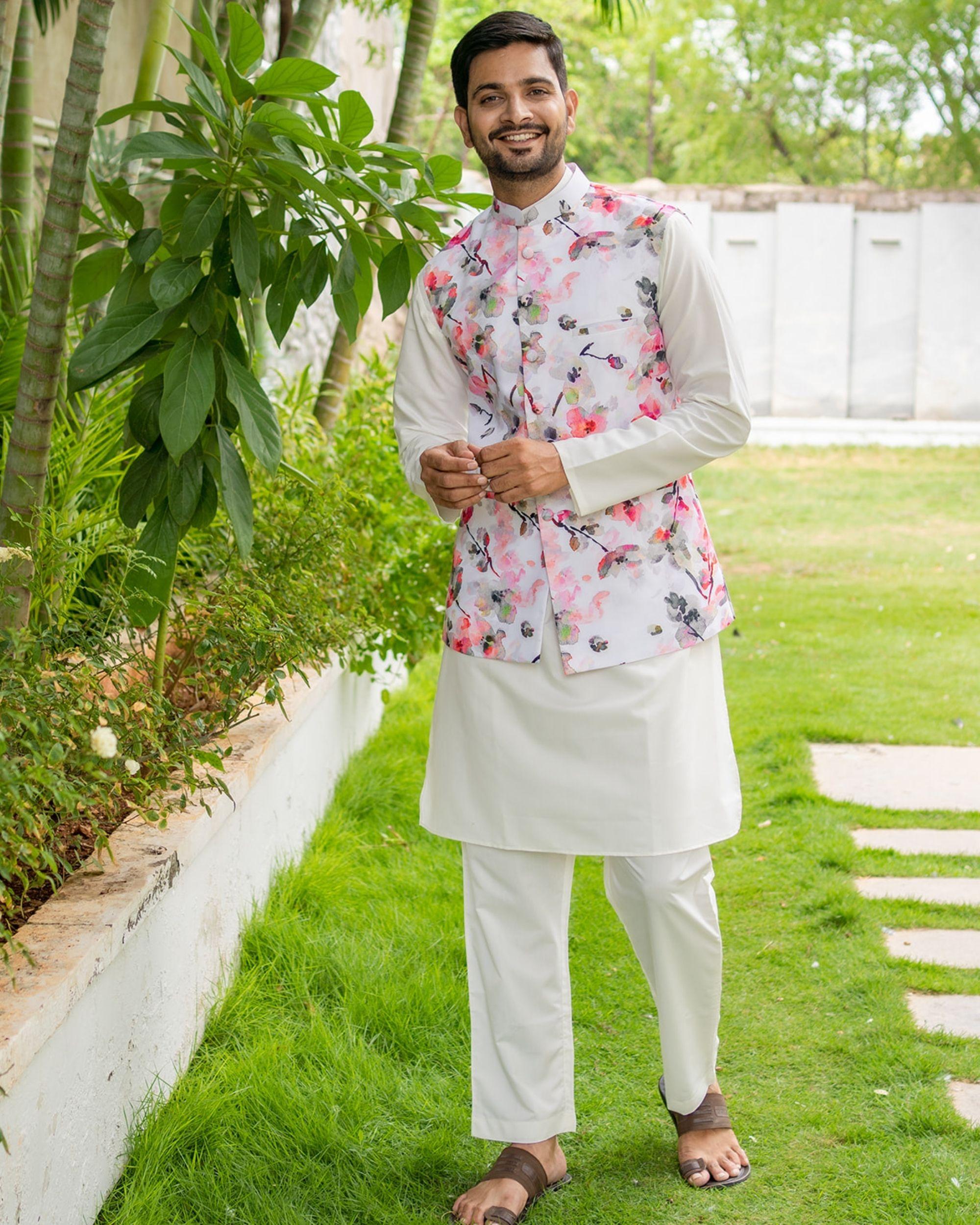 Floral printed nehru jacket with white kurta and pyjama - set of 3
