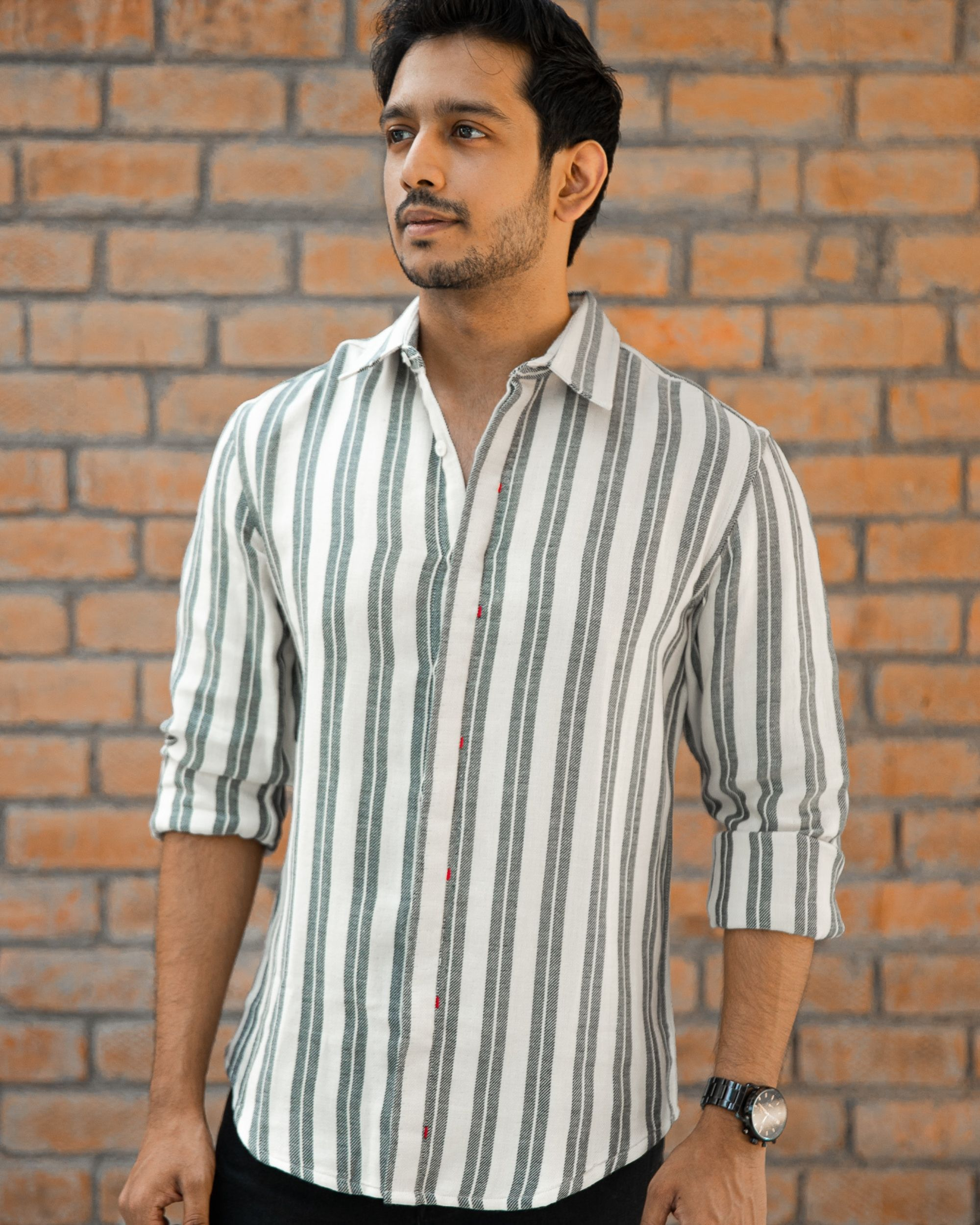 Grey double striped shirt