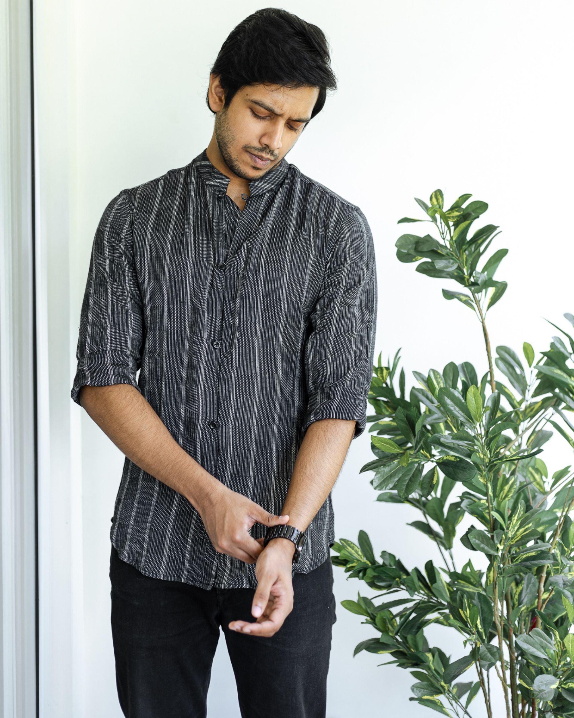 Black striped cotton dobby shirt