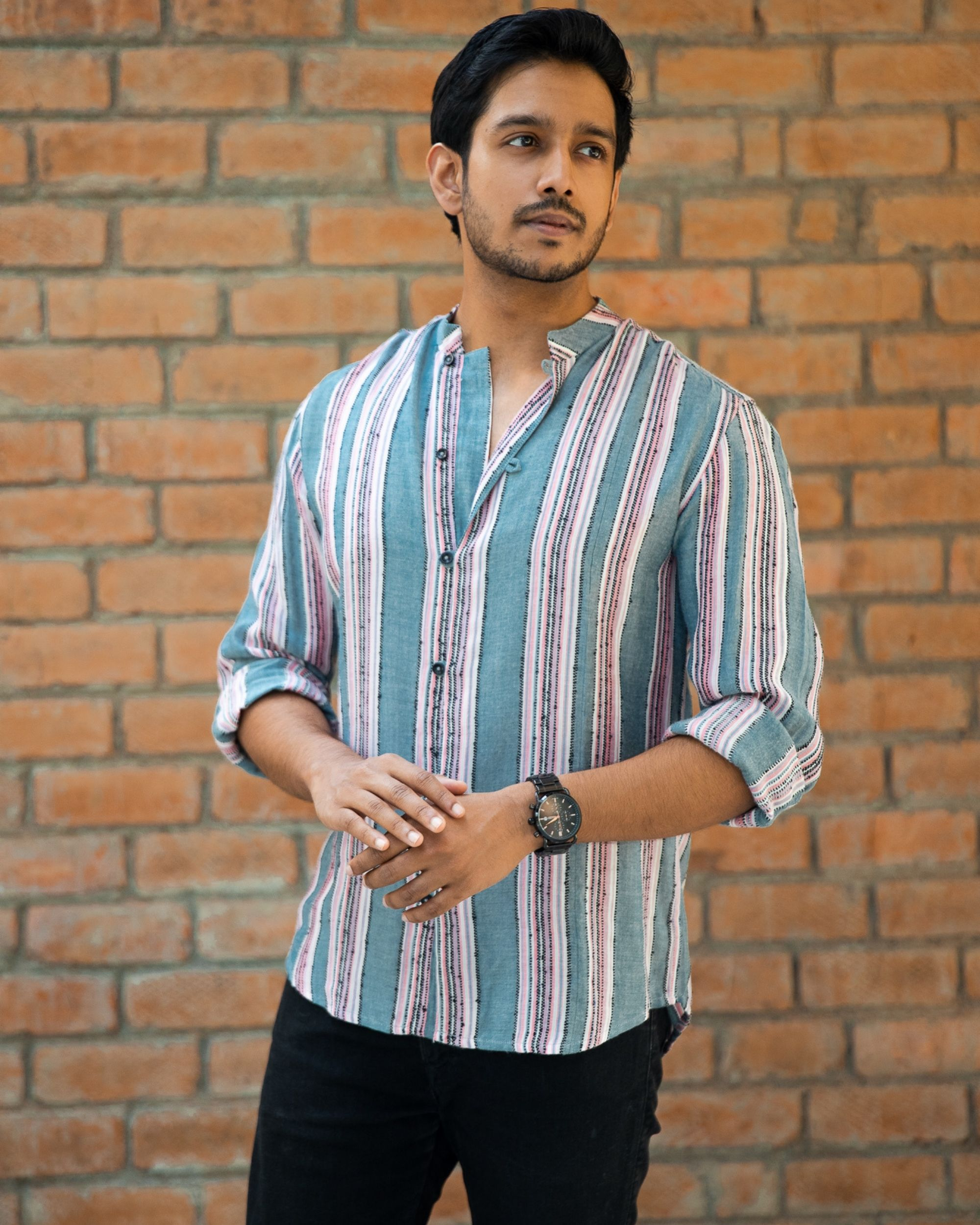 Grey and pink striped cotton dobby shirt