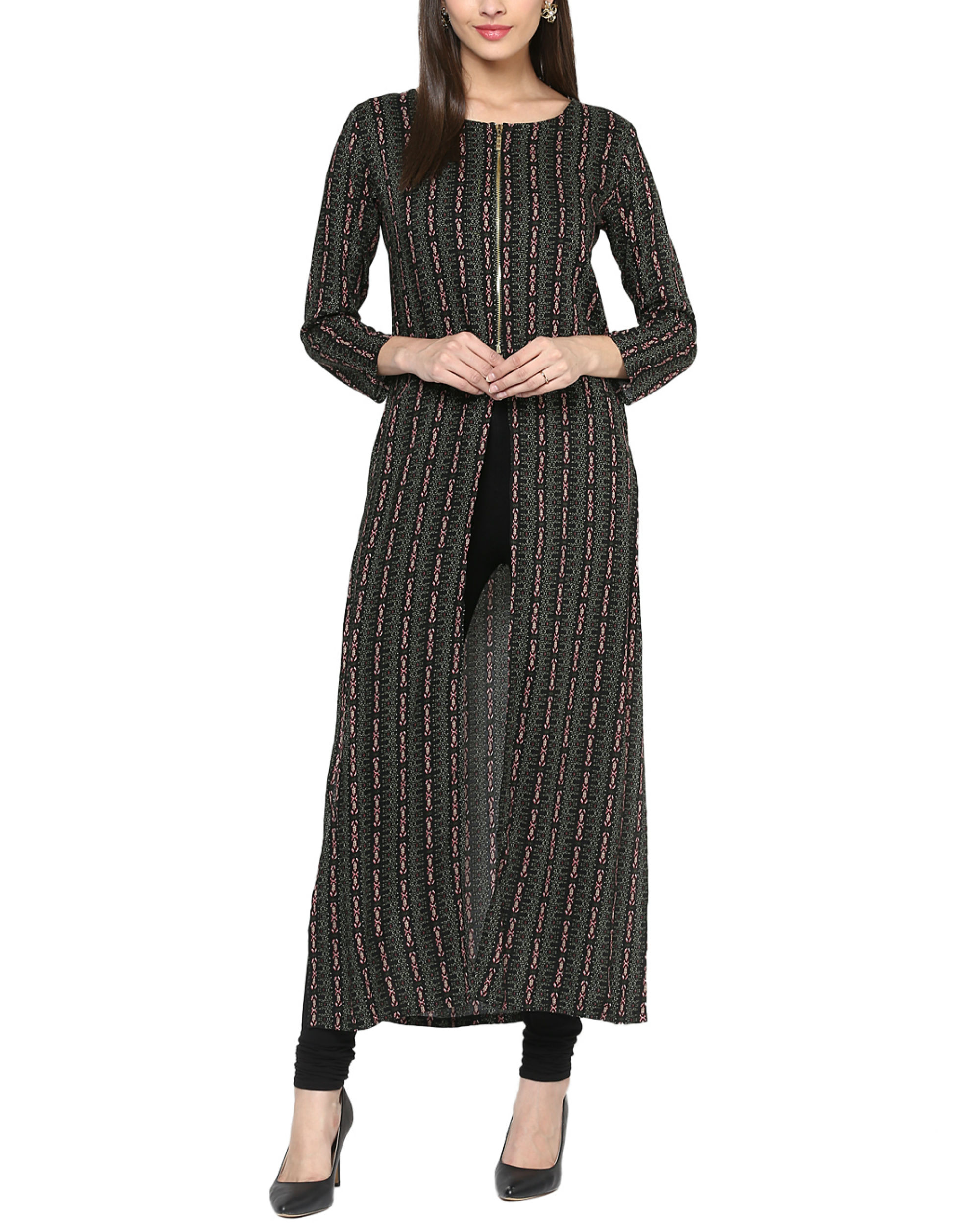 Black three slit kurta