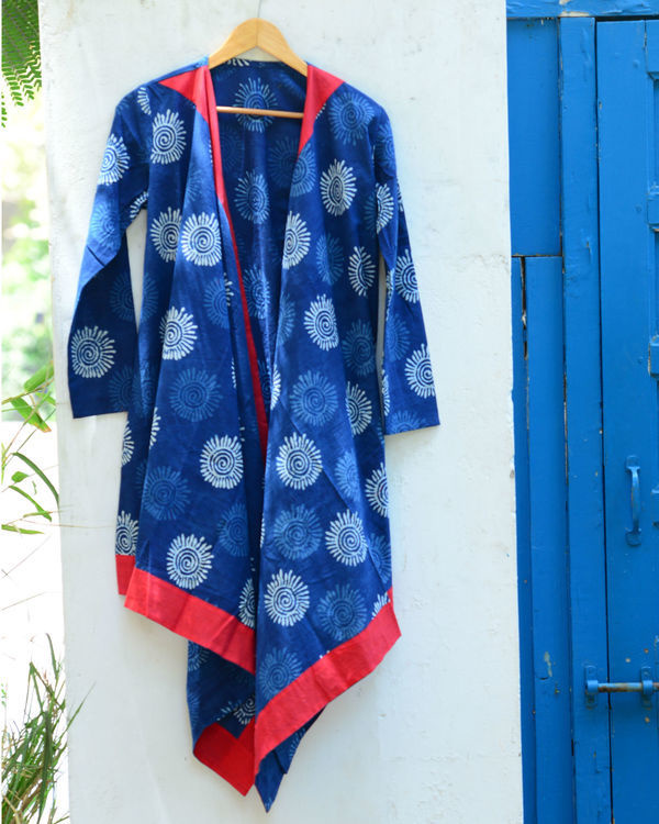 Blue shibori shrug