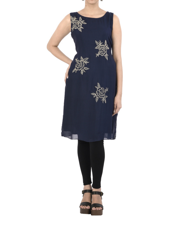 Indigo Tunic with French Knot Embroidery