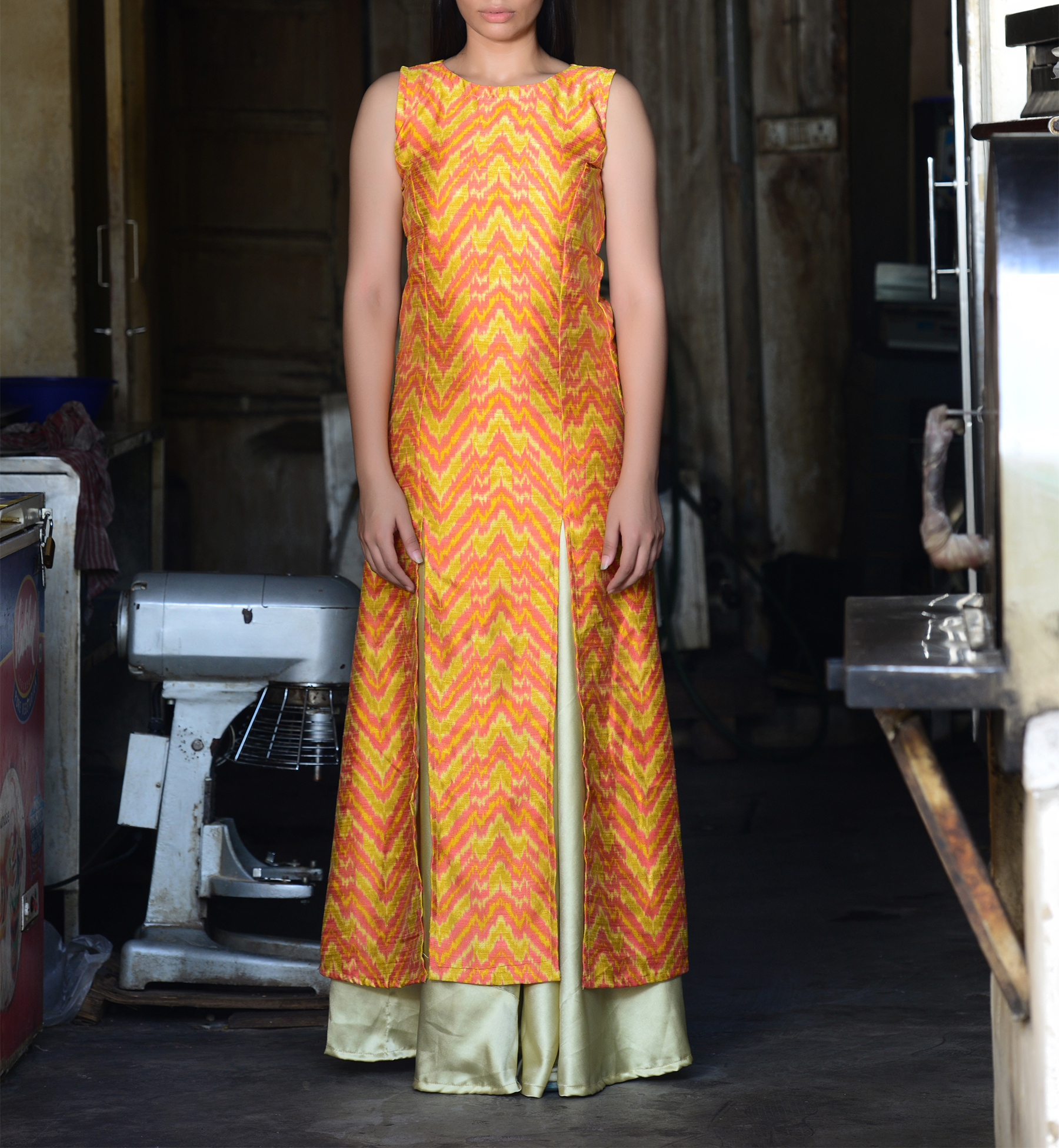 Yellow kurta with golden skirt