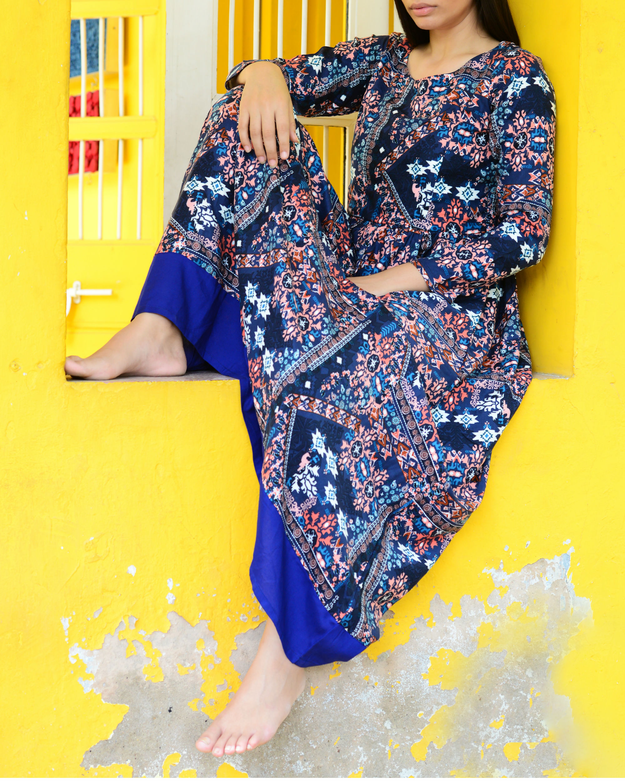 Blue abstract printed maxi