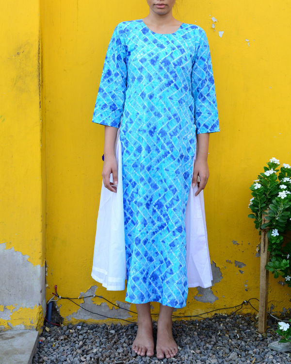 Blue white double layered kurta