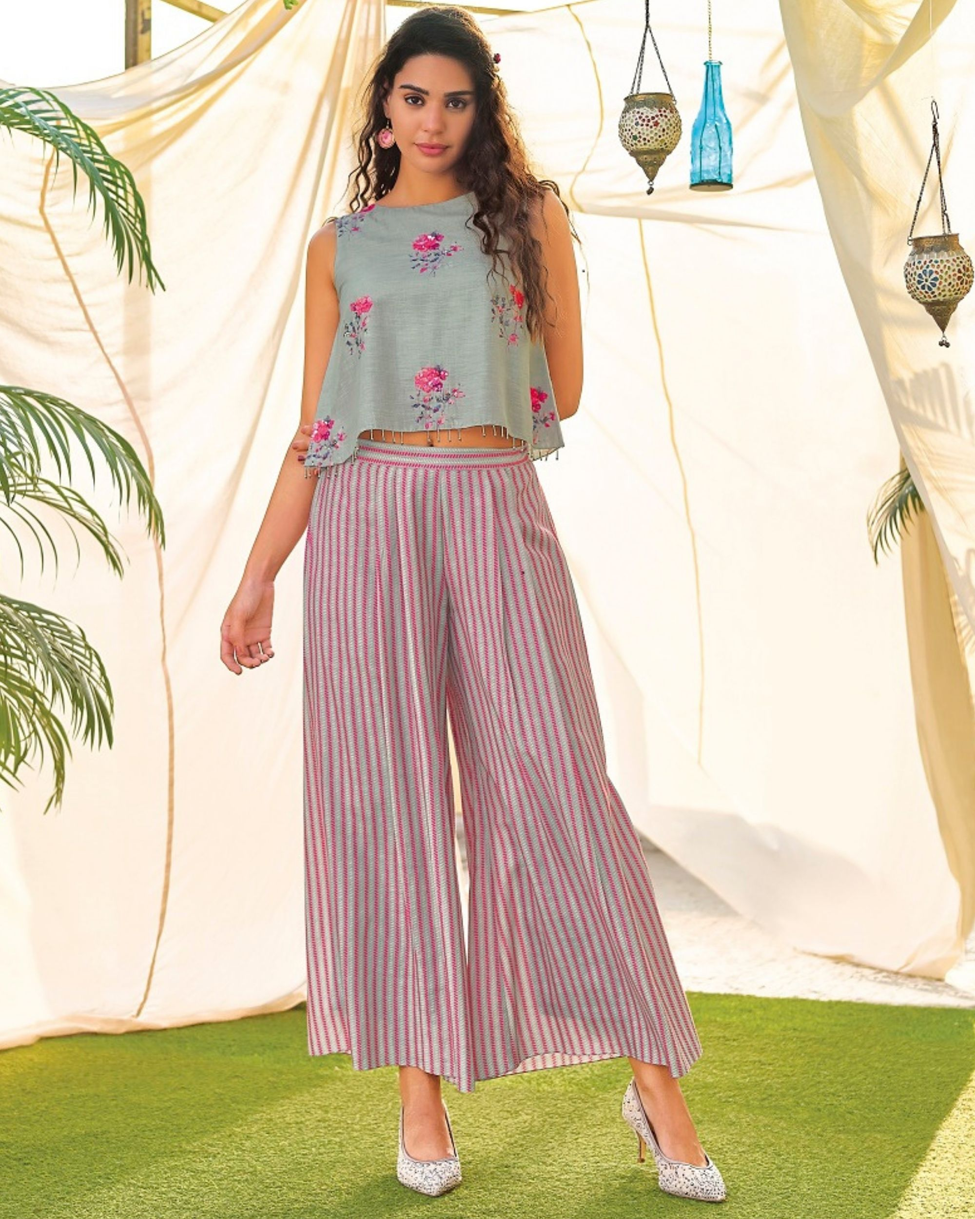 Grey and pink floral digital printed crop top and  striped palazzo - set of two