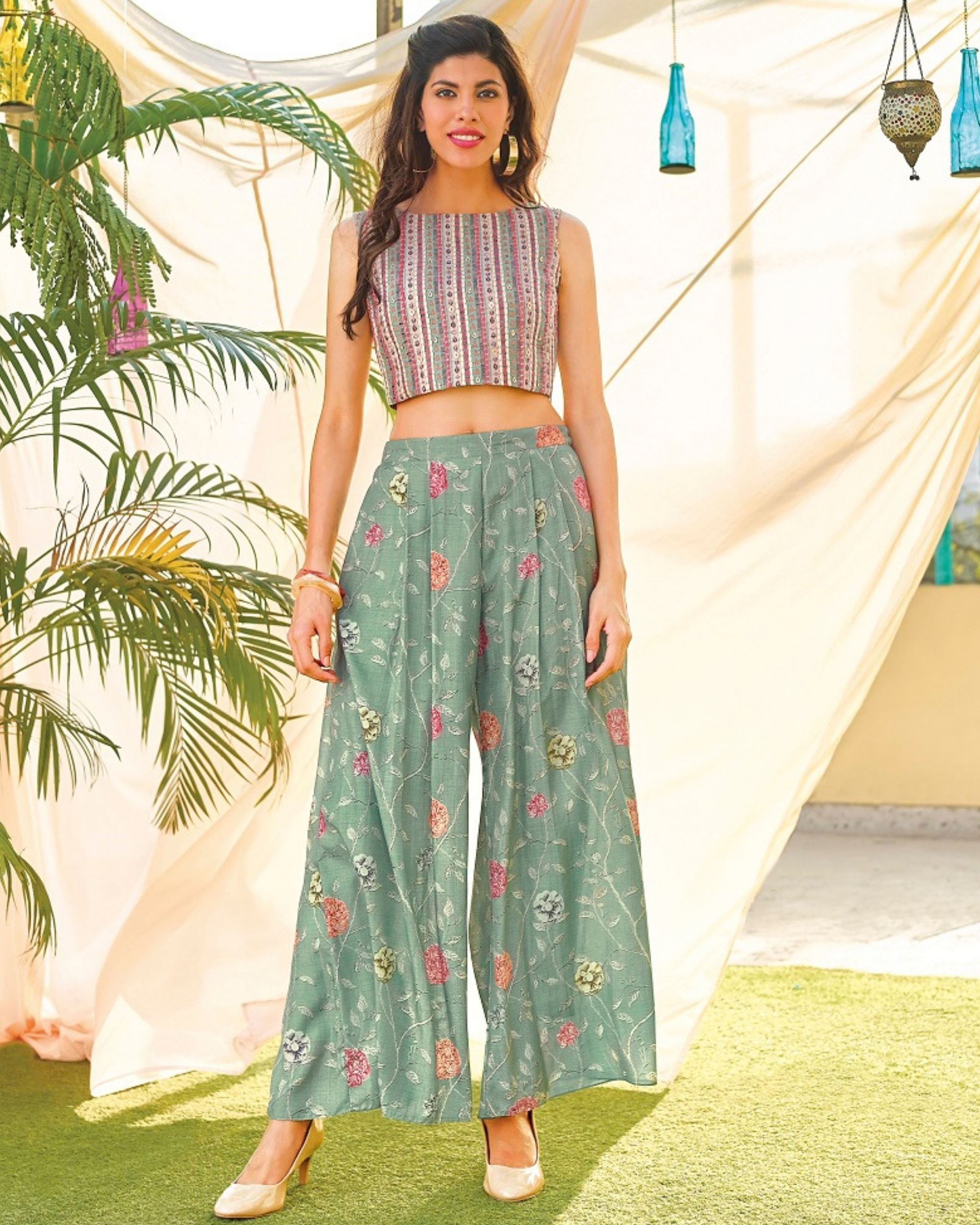 Blue floral digital printed crop top and  striped palazzo - set of two