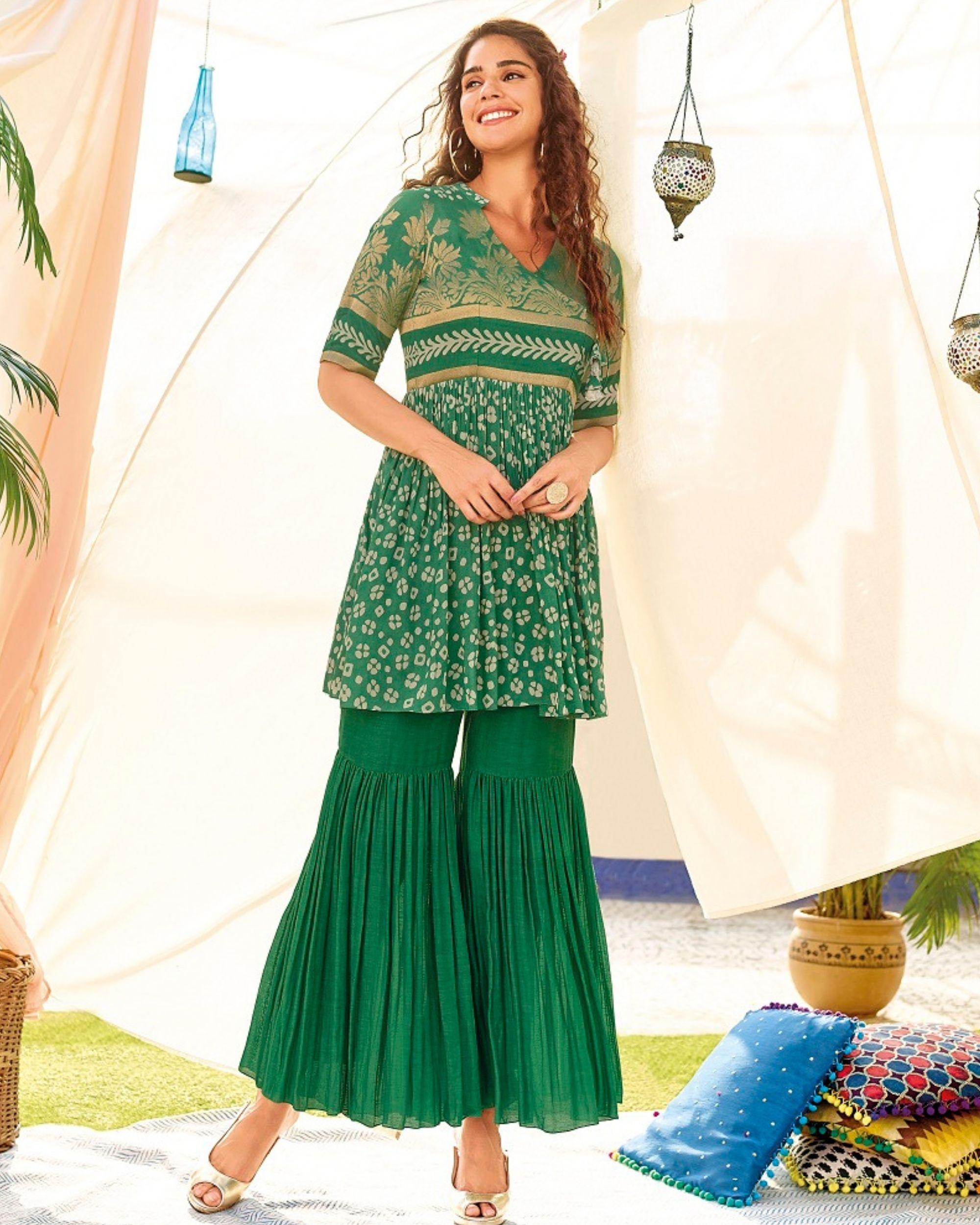Green linen georgette kurta and sharara - set of two