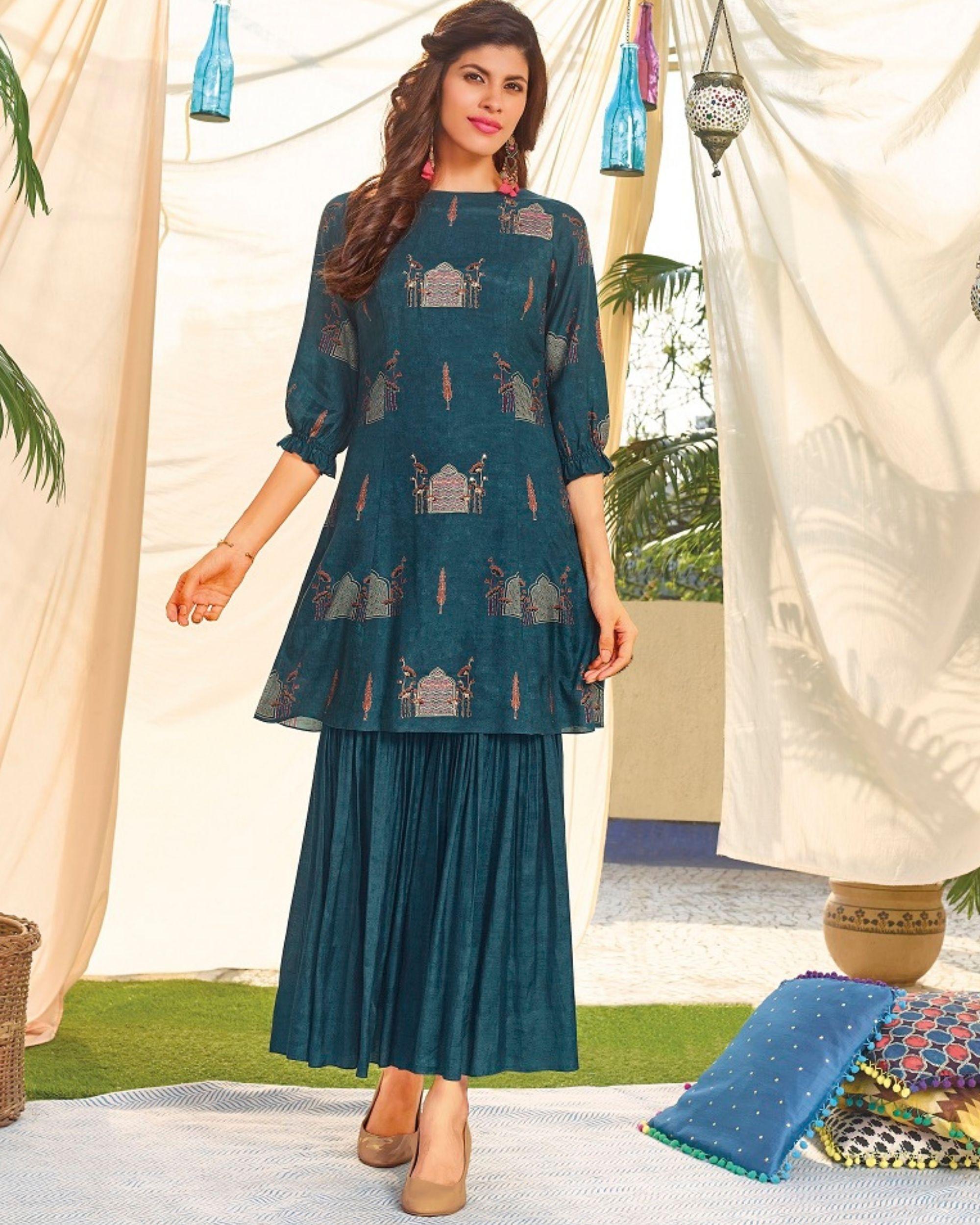 Blue digital printed kurta and hand embroidered sharara - set of two